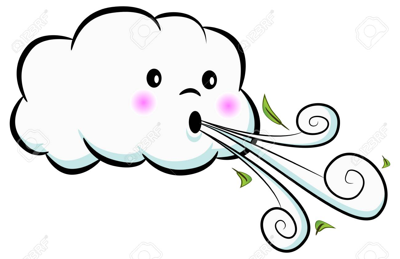 An image of a Cute Cloud Blowing Wind isolated on white. Vector illustration. - 97529877