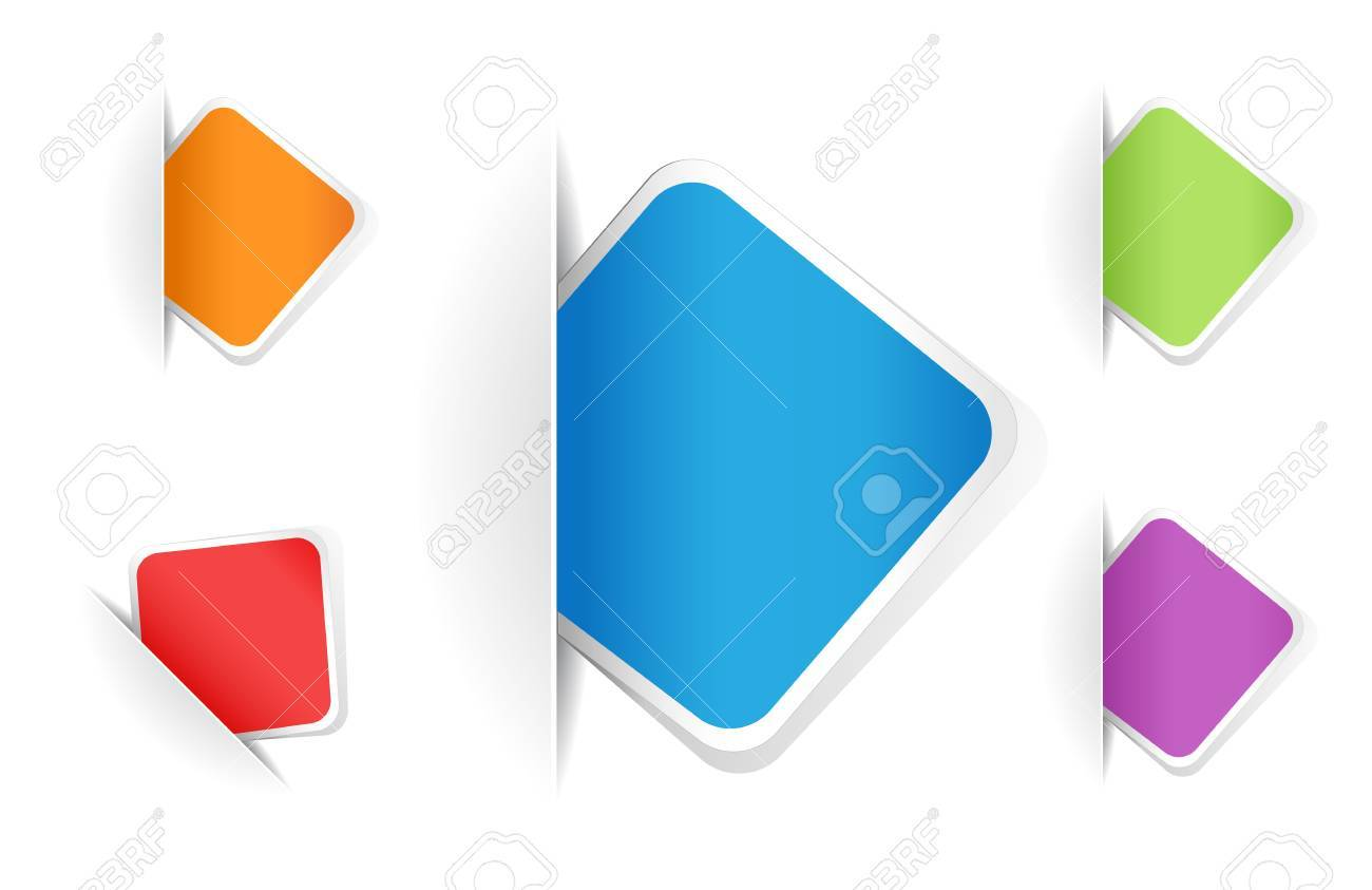 multicolored rounded square notes Stock Vector - 9439231