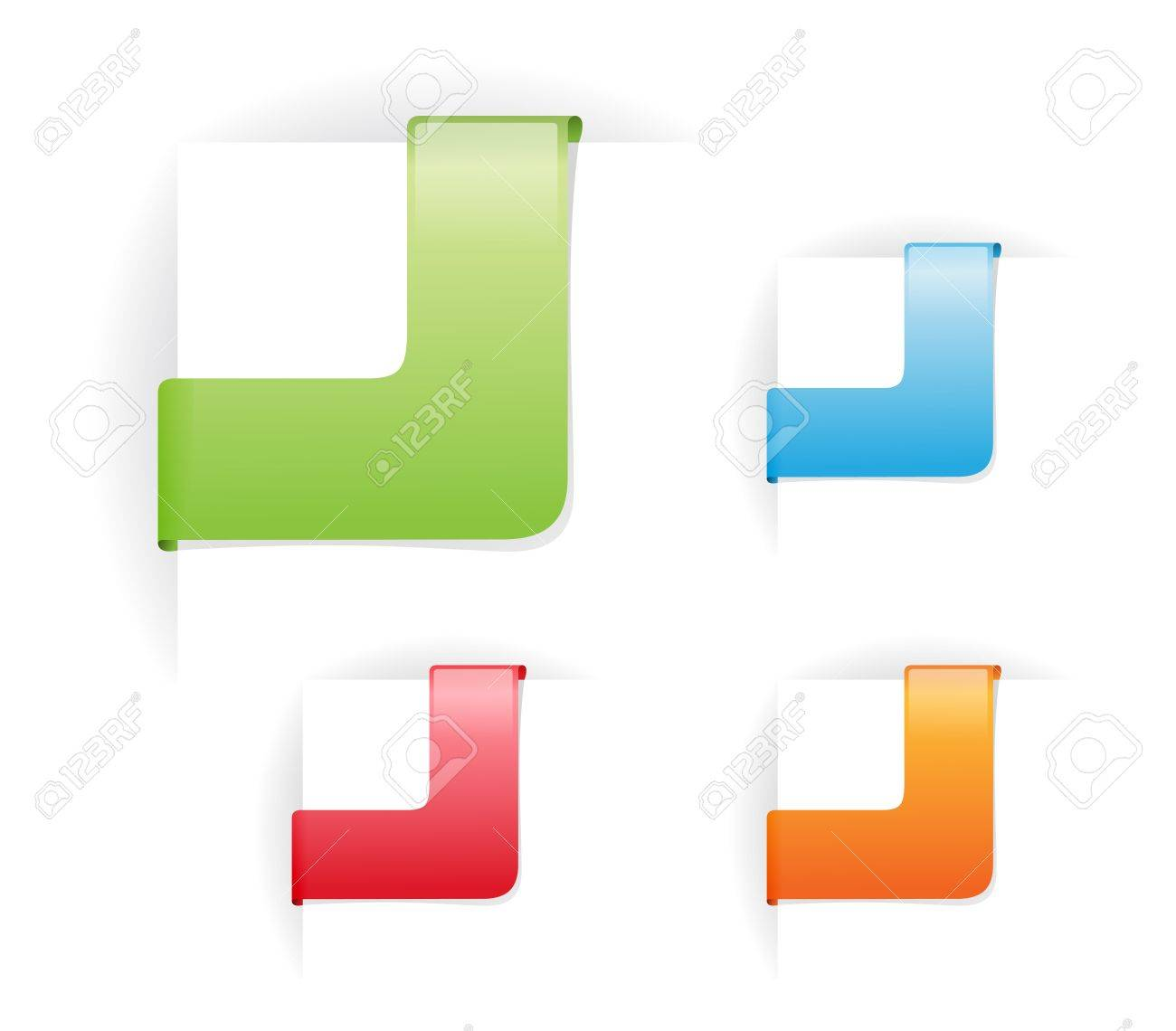 colorful rectangular corner ribbons without text Stock Vector - 9462629