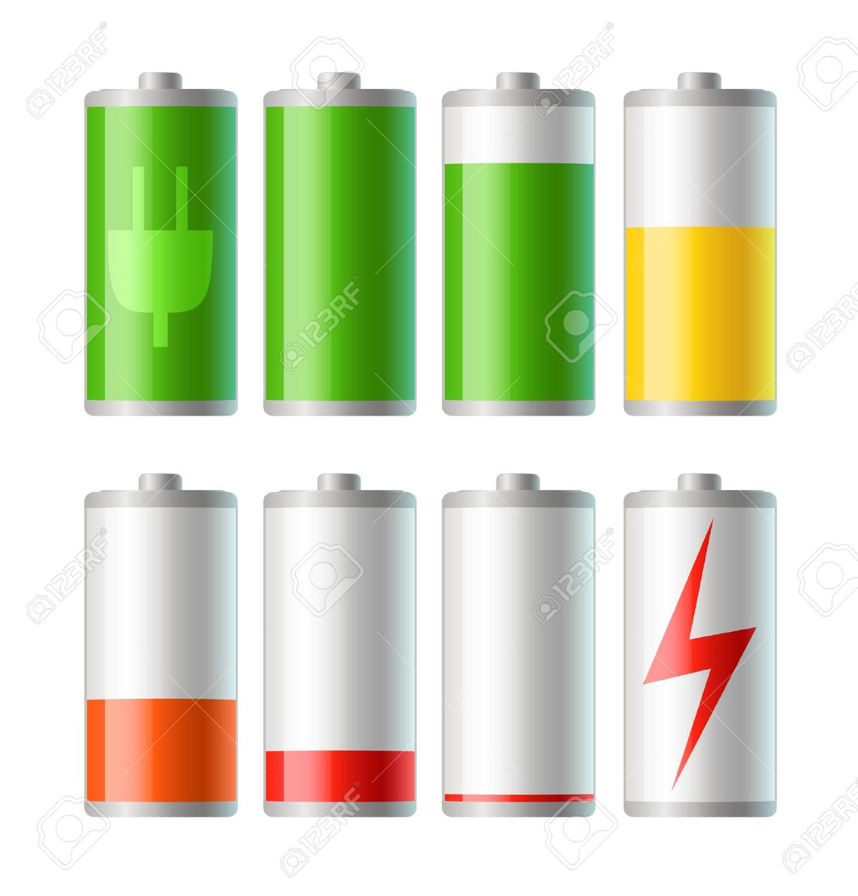 set of vector battery icons with level of charge Stock Vector - 9523972