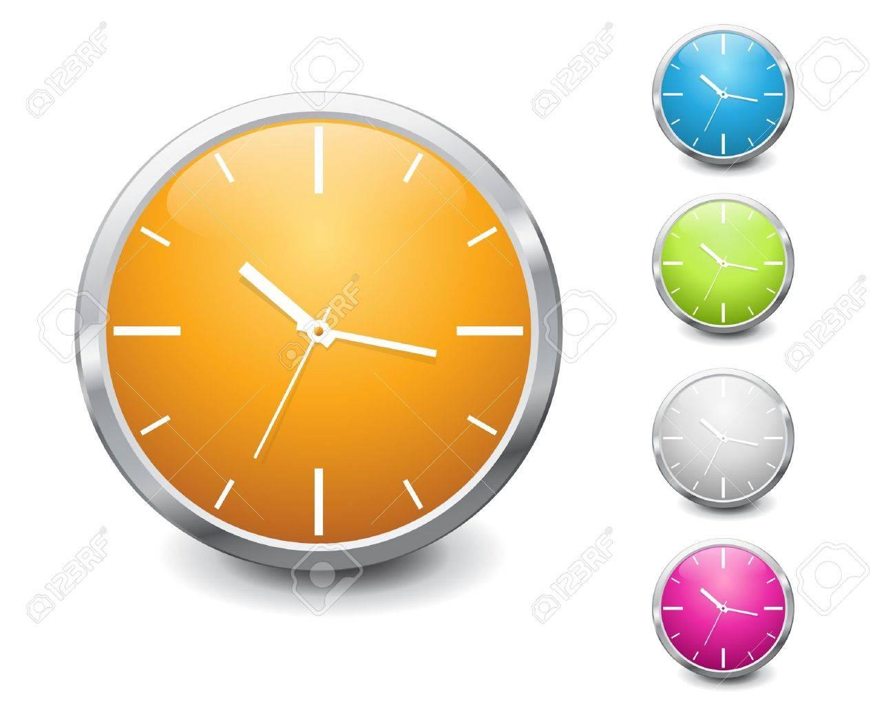vector multicolored shiny clock icon design Stock Vector - 9578967
