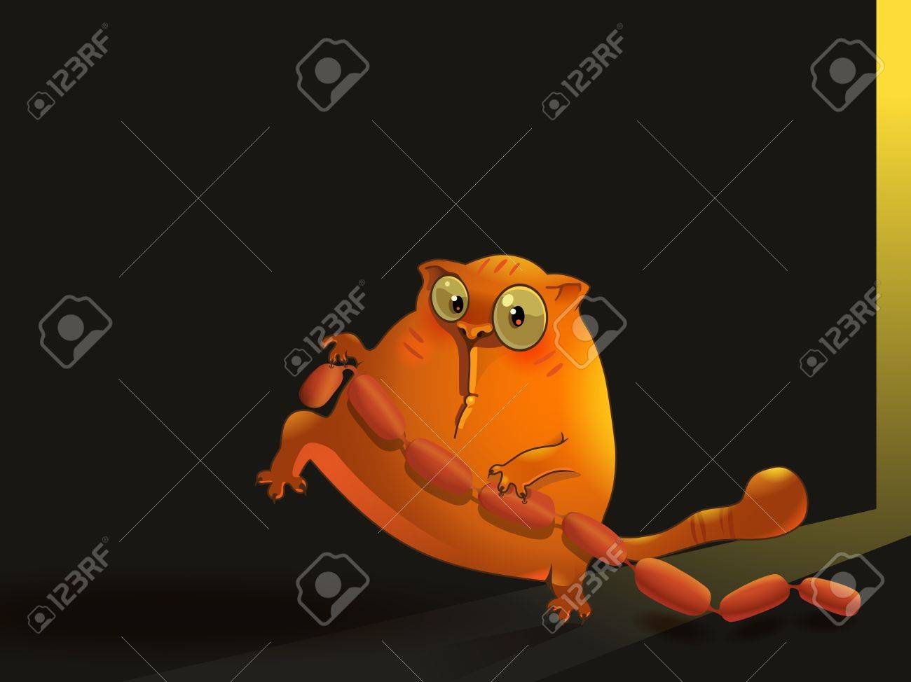 illustration of sneaking cat with sausages. Stock Vector - 10463222