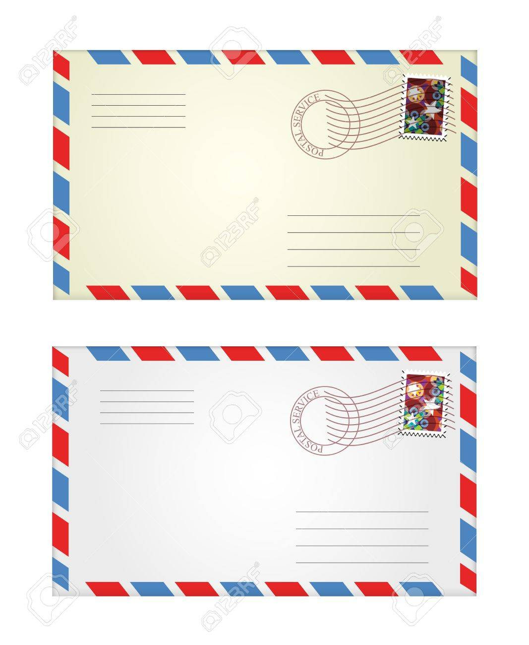 vector illustration of gray and yellow envelopes - 11973019