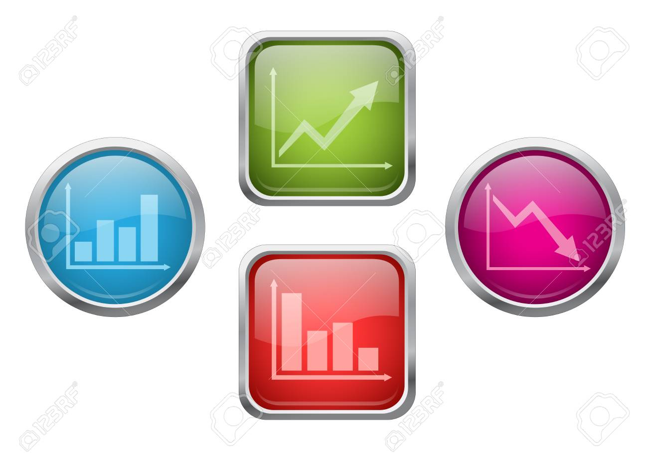 Set of glossy buttons with chart sign icons Stock Vector - 14067515
