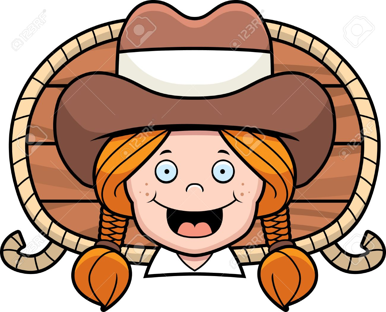 A Cartoon Redheaded Cowgirl Smiling And Happy. Royalty Free Cliparts ... cedca45b1254