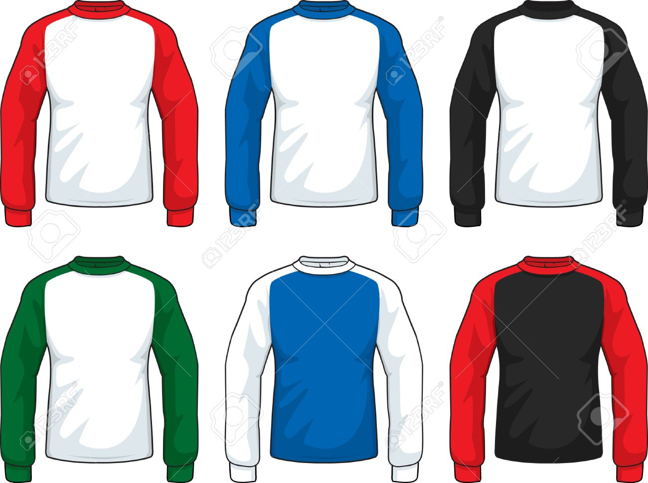 A Variety Of Different Colored Long Sleeve Shirts Royalty Free
