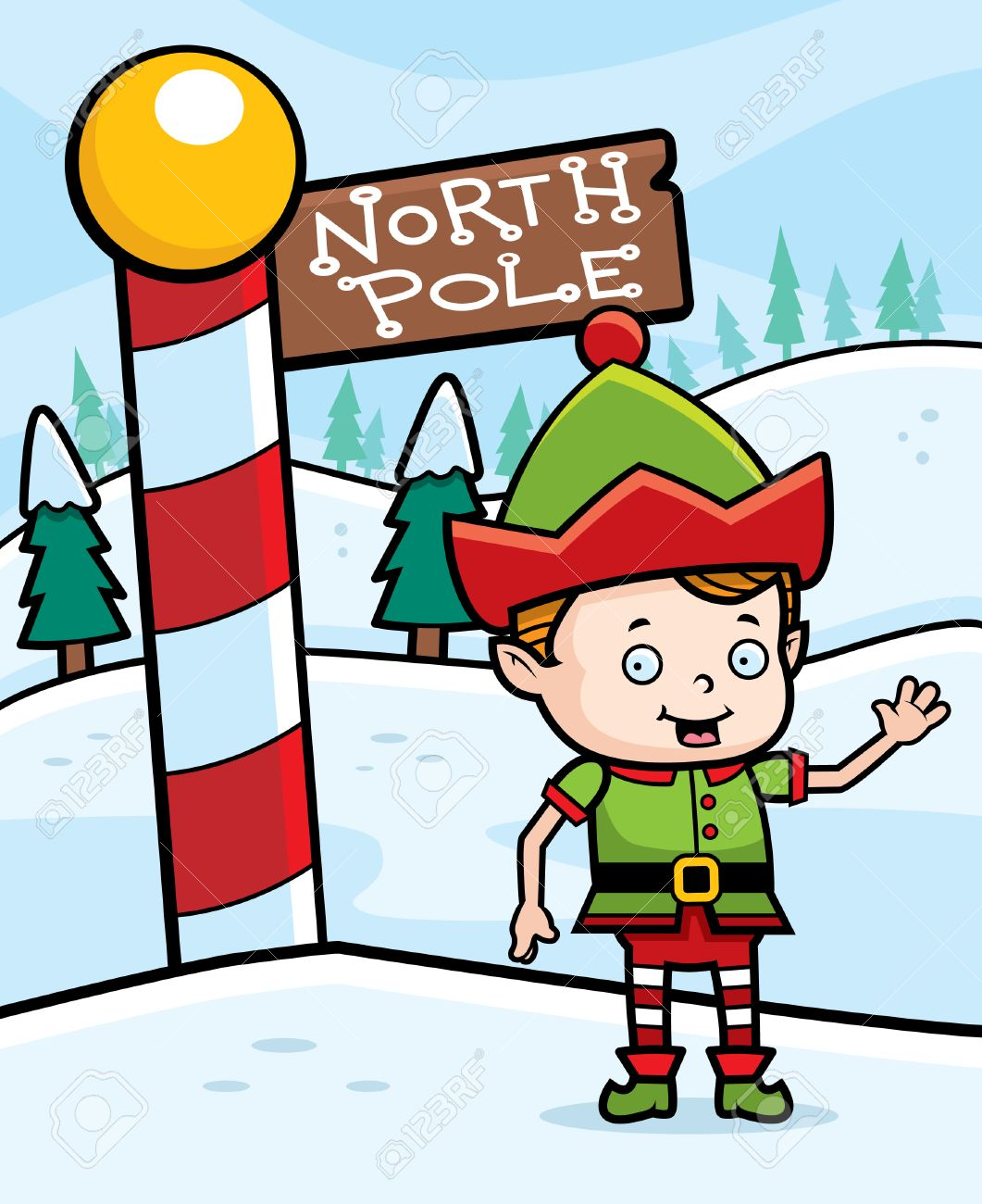 a happy cartoon christmas elf in the north pole royalty free rh 123rf com santa north pole clipart north pole clipart images
