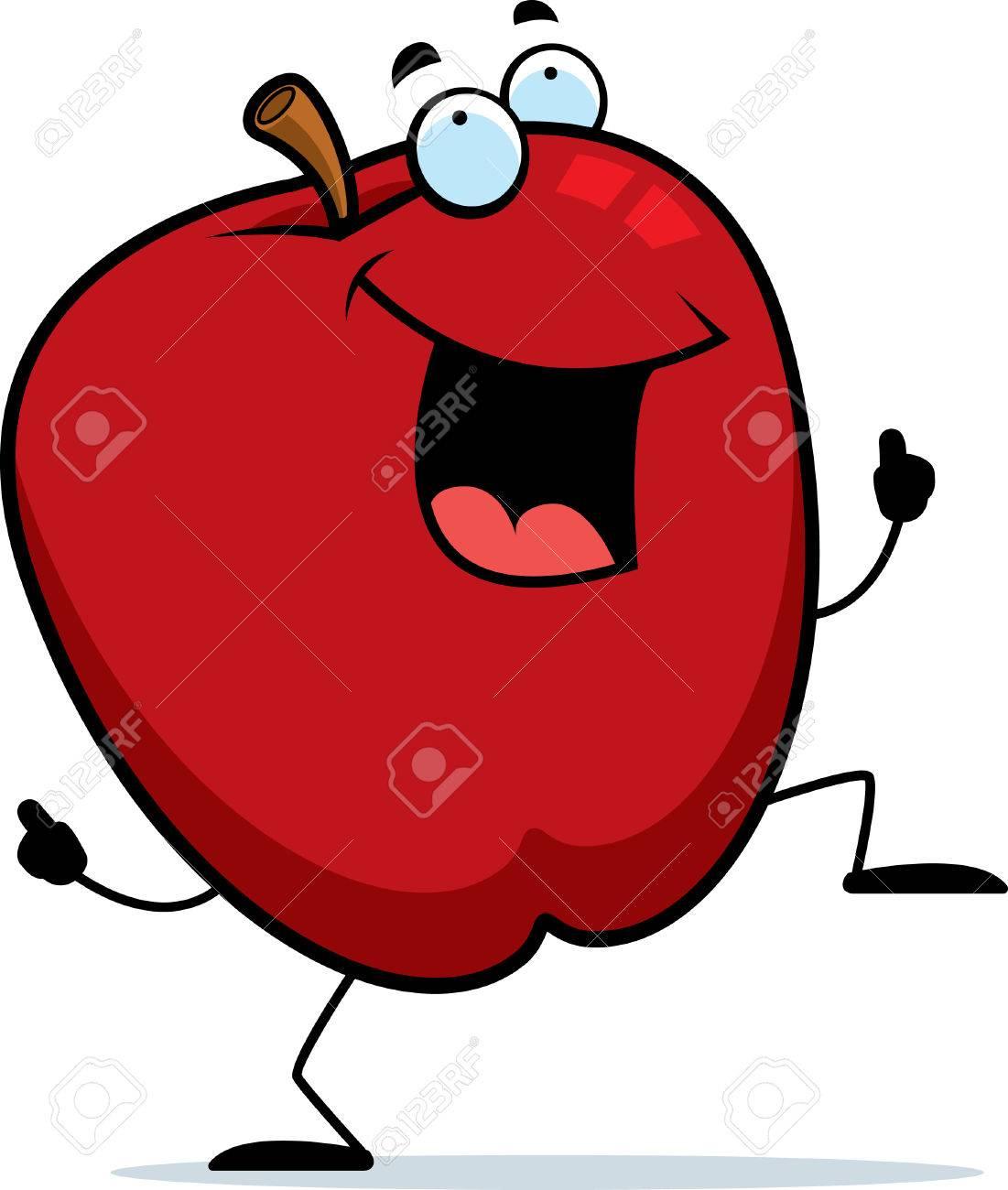 Dessin Pomme une danse heureux de pomme de dessin animé et souriant. clip art