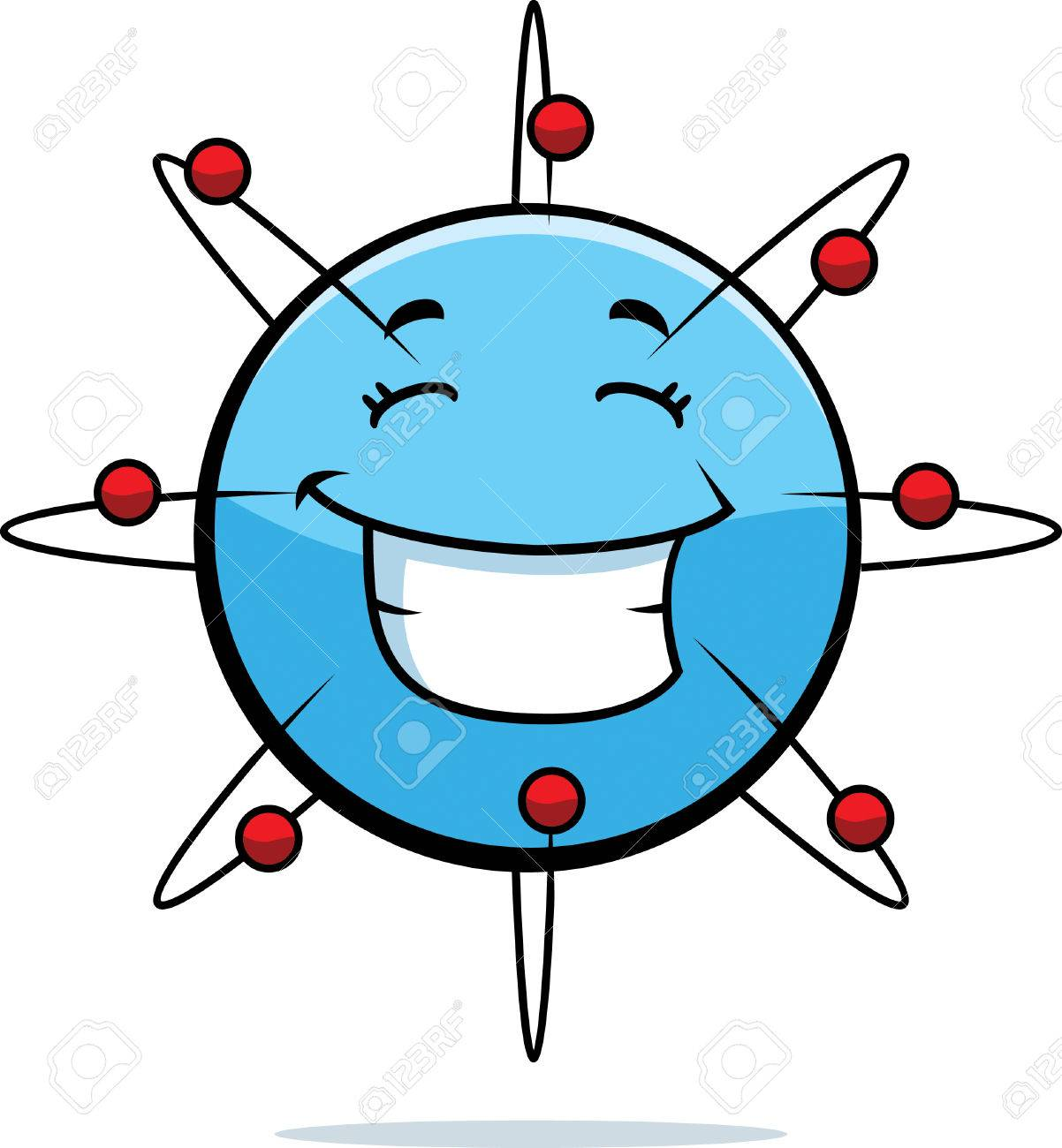 a cartoon blue atom happy and smiling royalty free cliparts