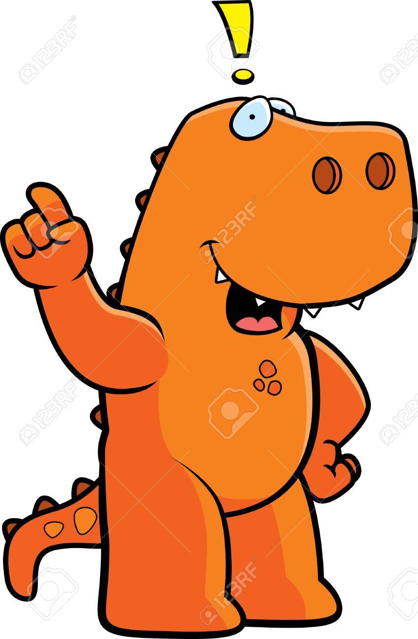 A happy cartoon dinosaur with an idea. - 26531107