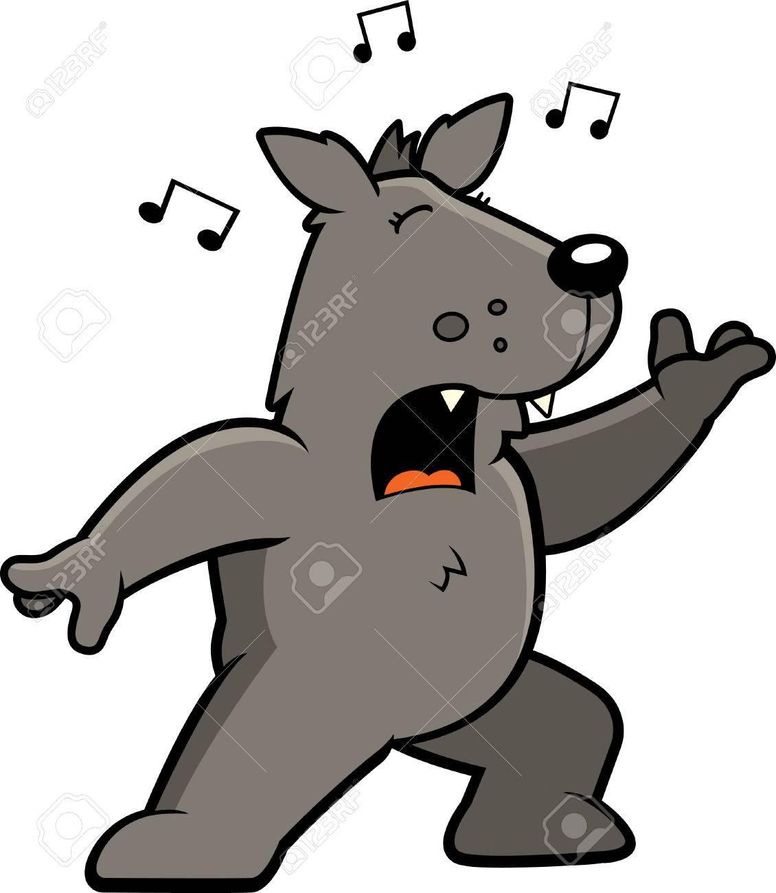 Vettoriale un cartone animato in piedi lupo e cantare una