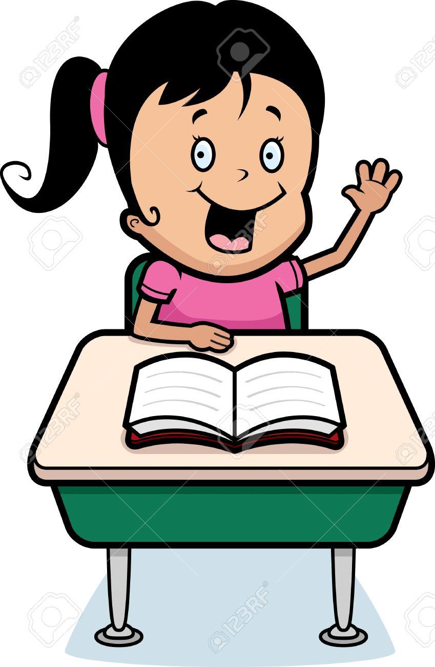 Un Estudiante De Niño Feliz De Dibujos Animados En Un Escritorio En