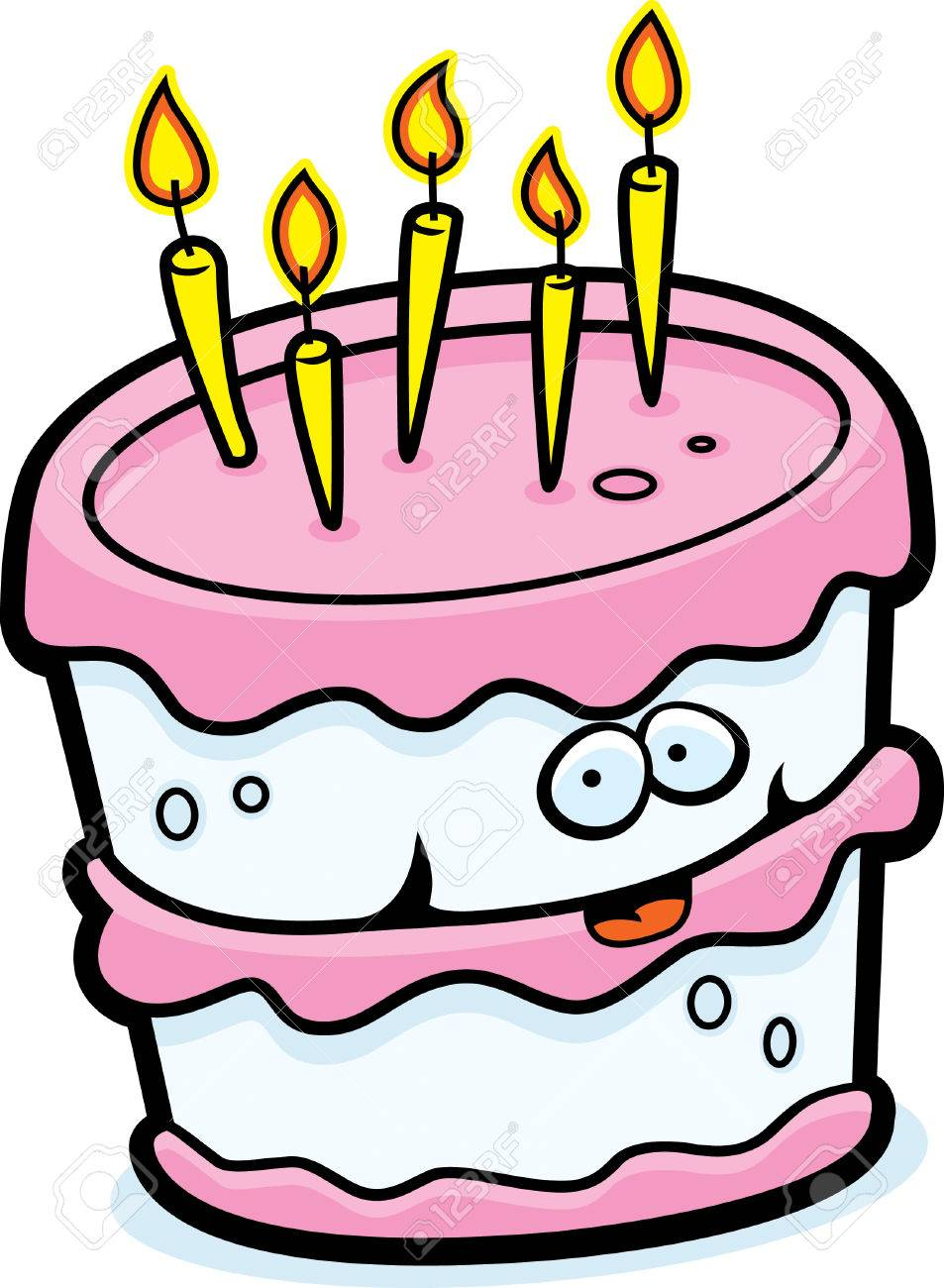A Cartoon Birthday Cake Happy And Smiling Stock Vector