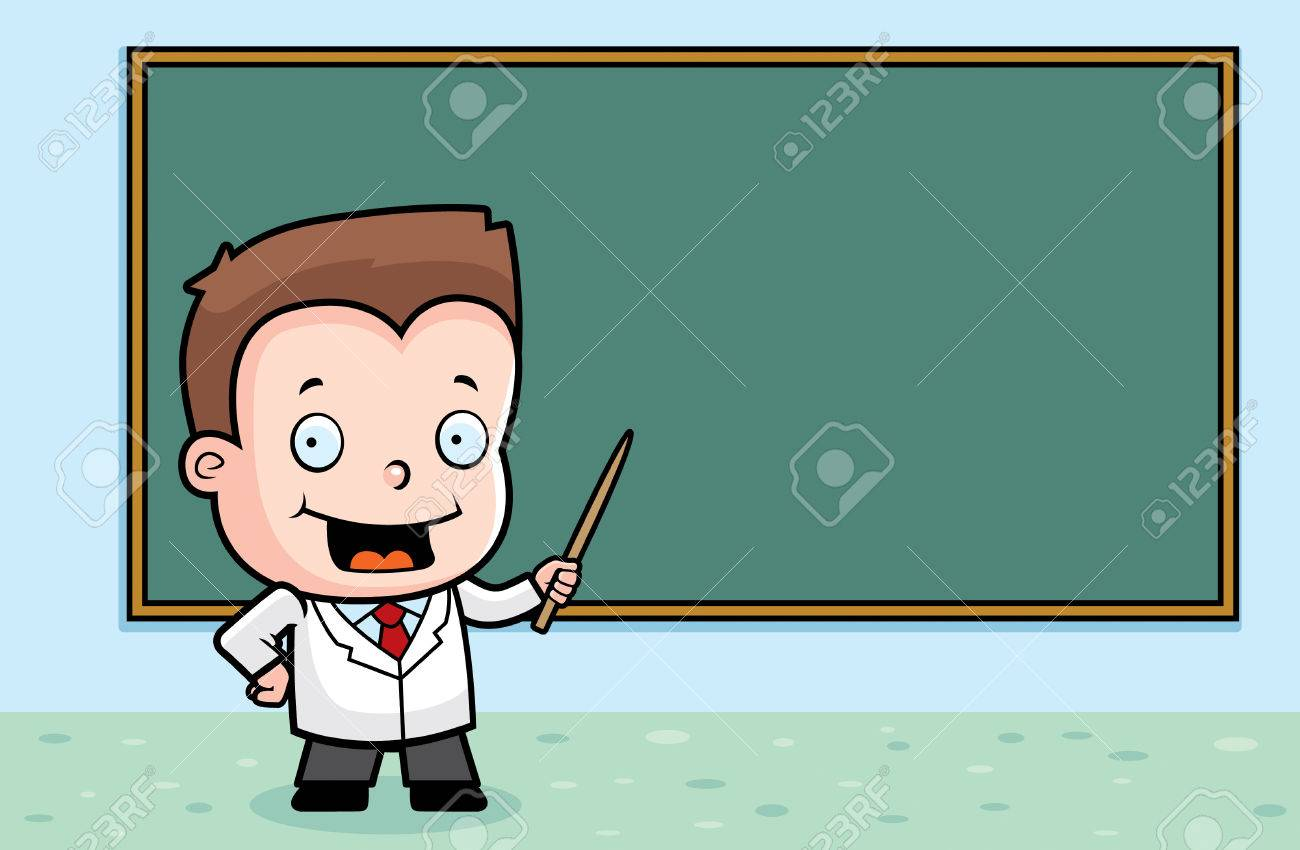 A Cartoon Boy At The Chalkboard Teaching Class. Royalty Free ...