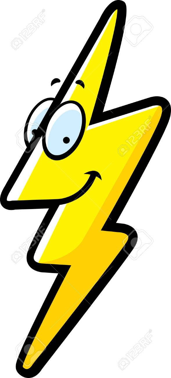 a cartoon lightning bolt smiling and happy royalty free cliparts