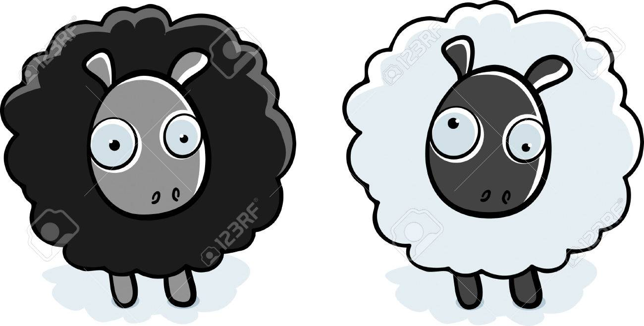 A Cartoon Black Sheep And White Sheep Standing. Royalty Free ... for Animated Black Sheep  75sfw