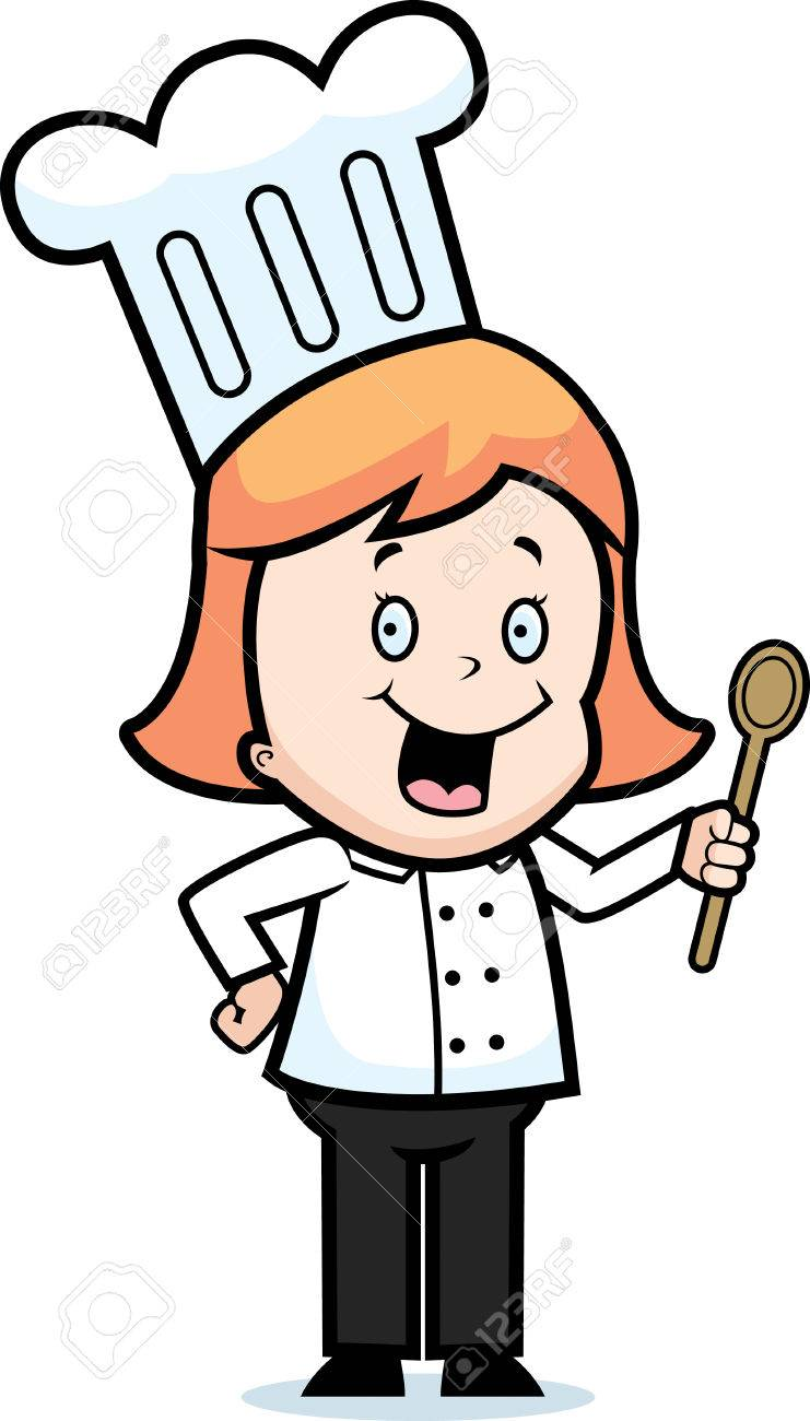 Un Niño Feliz De Dibujos Animados Chef De Pie Y Sonriente. Ilustraciones Vectoriales, Clip Art Vectorizado Libre De Derechos. Image 41973596.