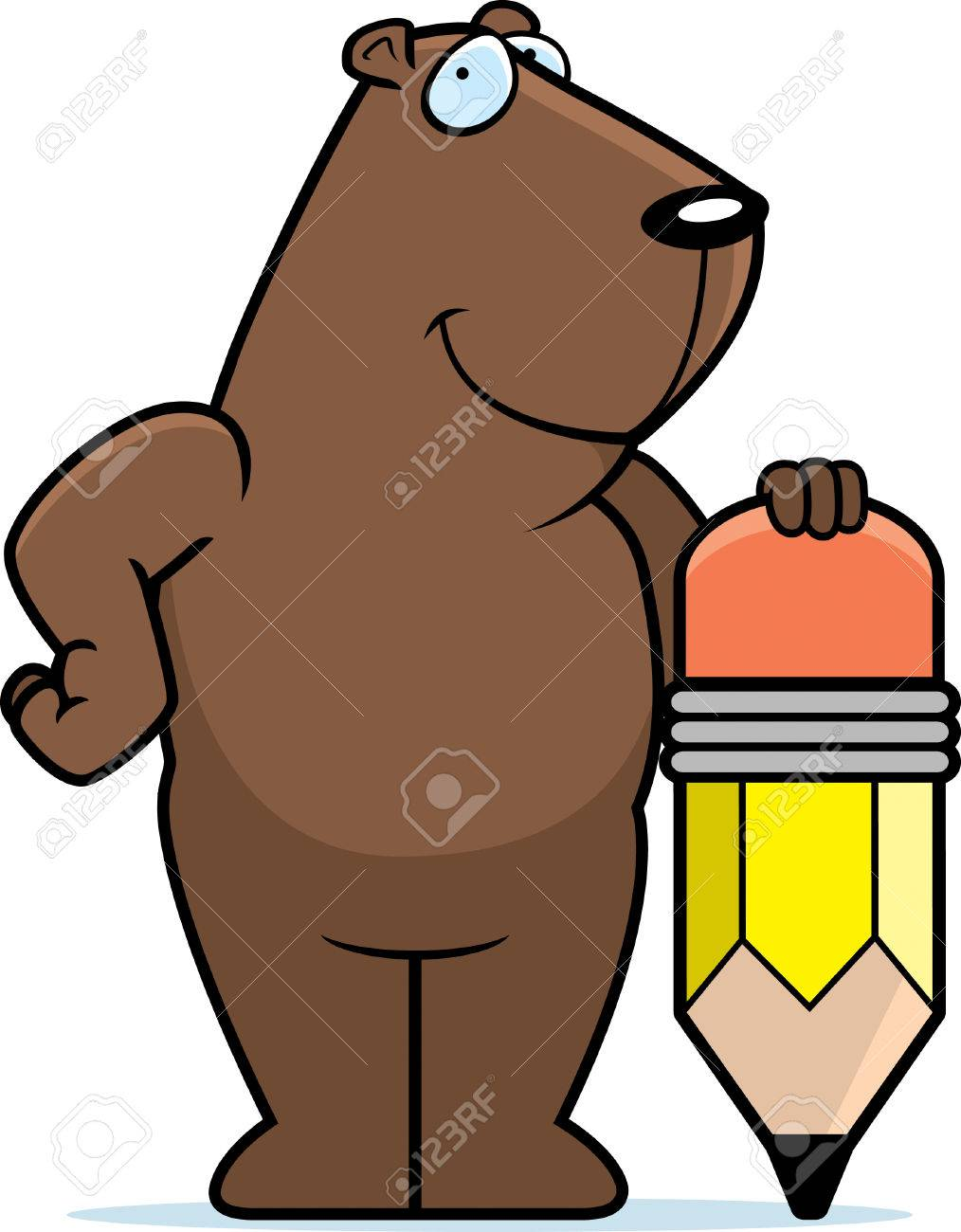 A Happy Cartoon Groundhog With A Pencil. Royalty Free Cliparts ...