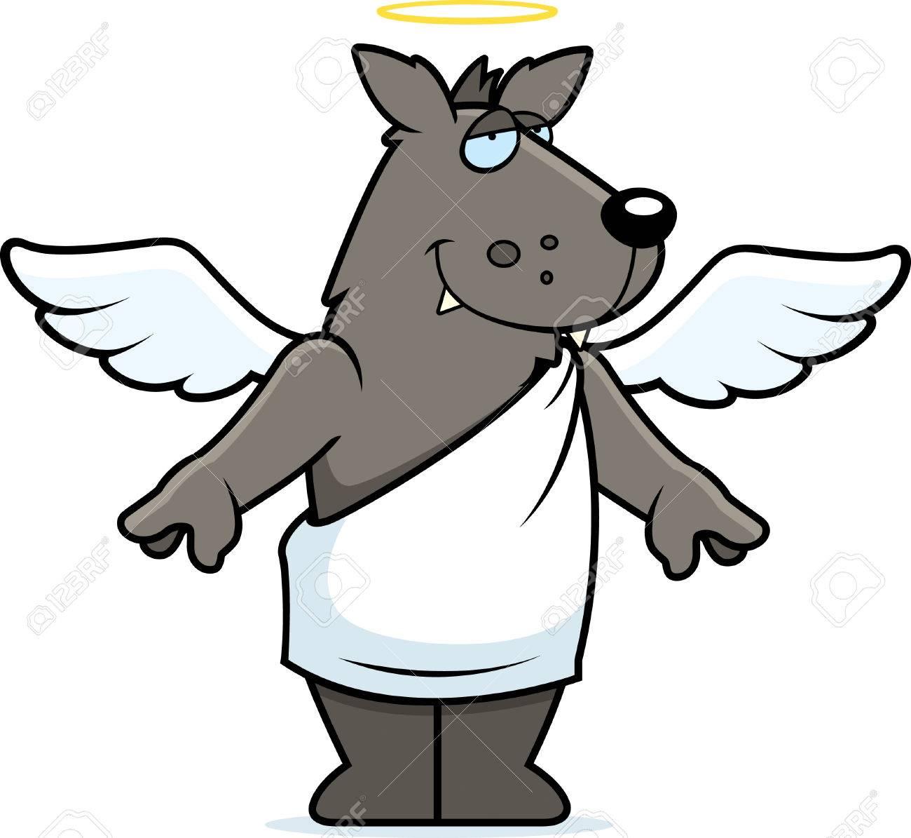 Un Lobo De Dibujos Animados Feliz Con Alas De ángel Y Halo