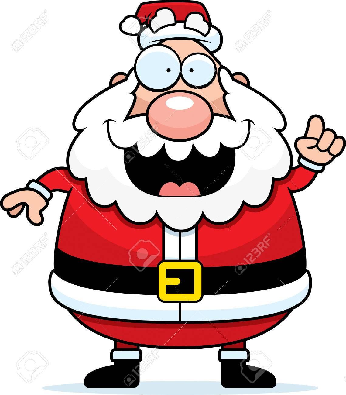 Imagenes De Papa Noel Animado.Un Dibujo Animado Papa Noel Feliz Con Una Idea