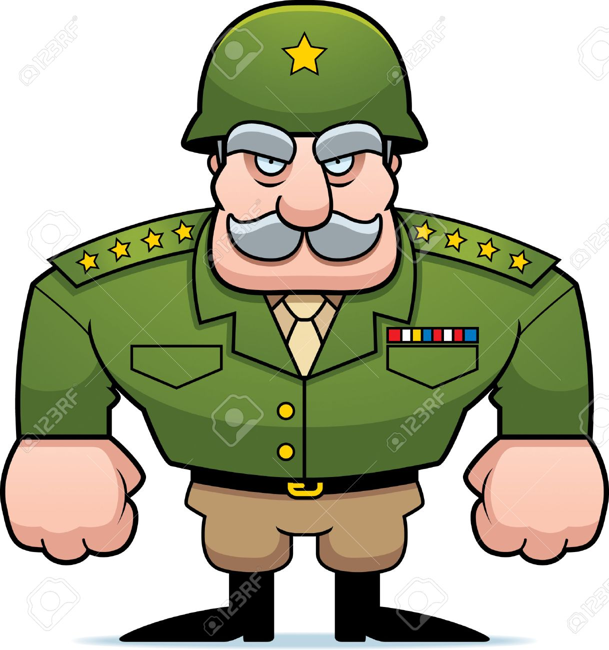 a cartoon military general with a helmet on royalty free cliparts