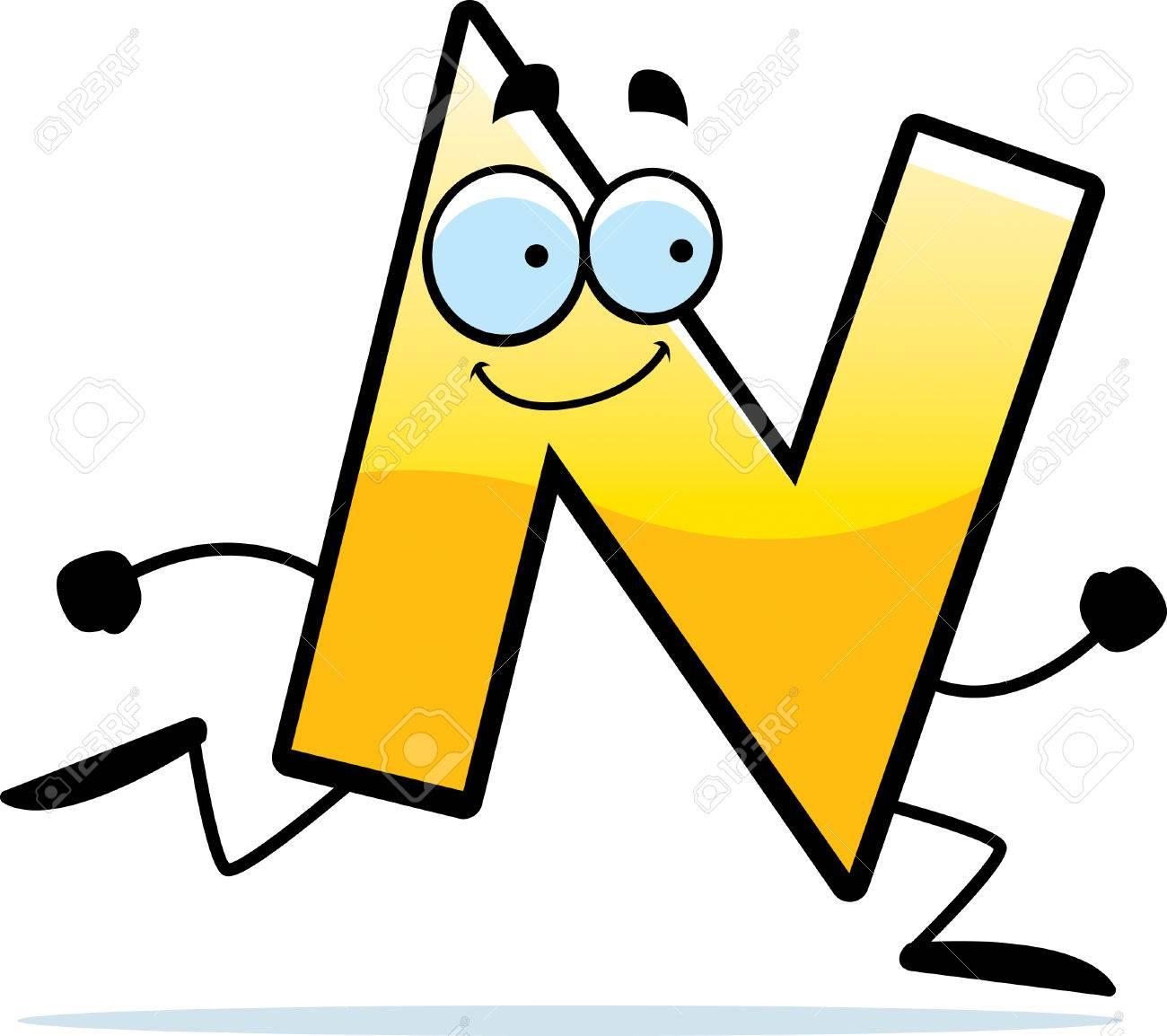 N の文字の漫画イラストを実行して笑みを浮かべてしますのイラスト