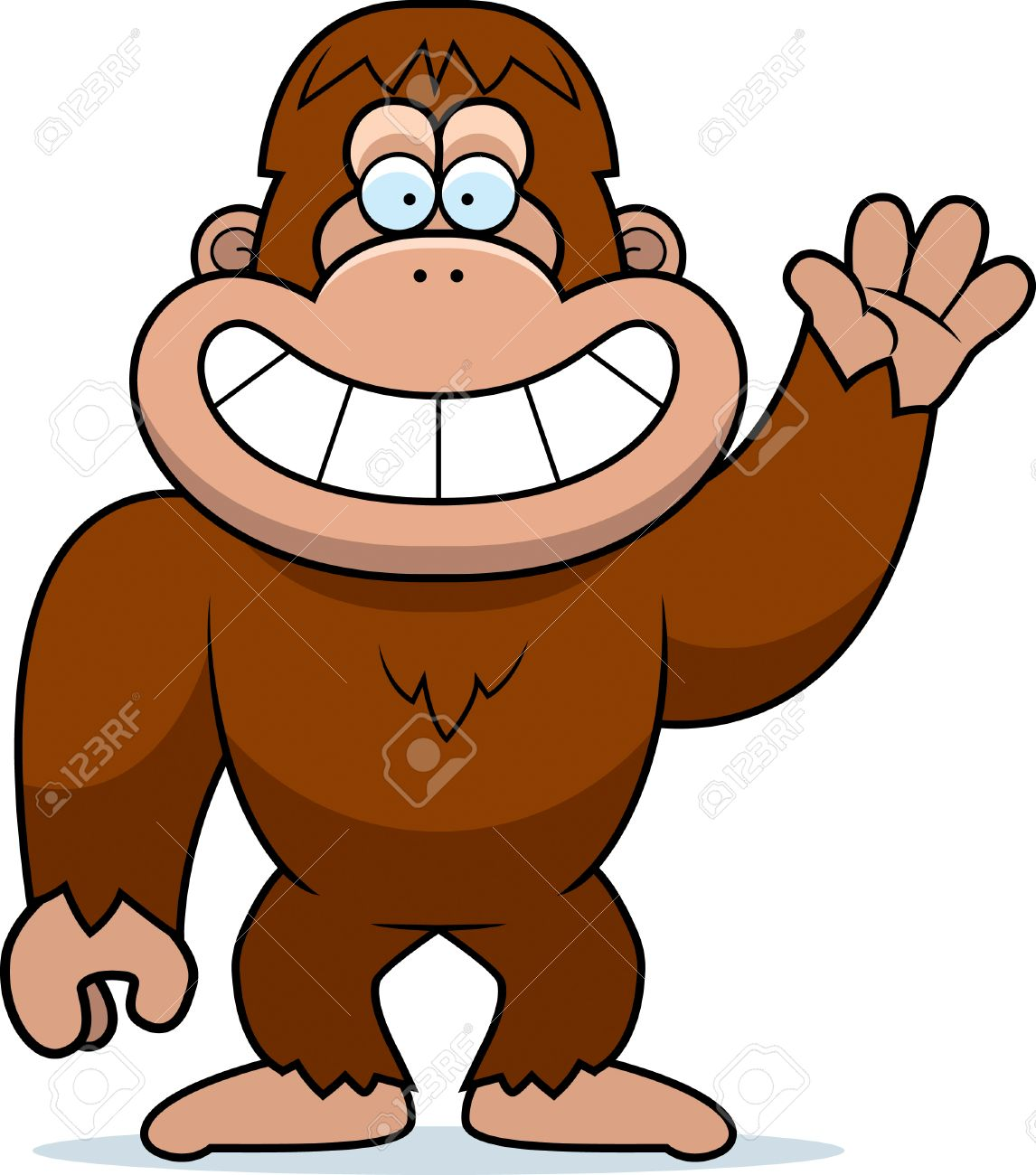 a cartoon illustration of a bigfoot waving royalty free cliparts rh 123rf com bigfoot feet clipart