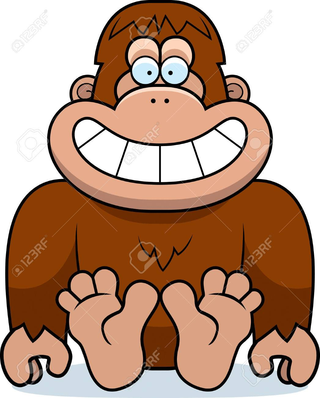 a cartoon illustration of a bigfoot sitting royalty free cliparts rh 123rf com free bigfoot clipart bigfoot clipart black and white