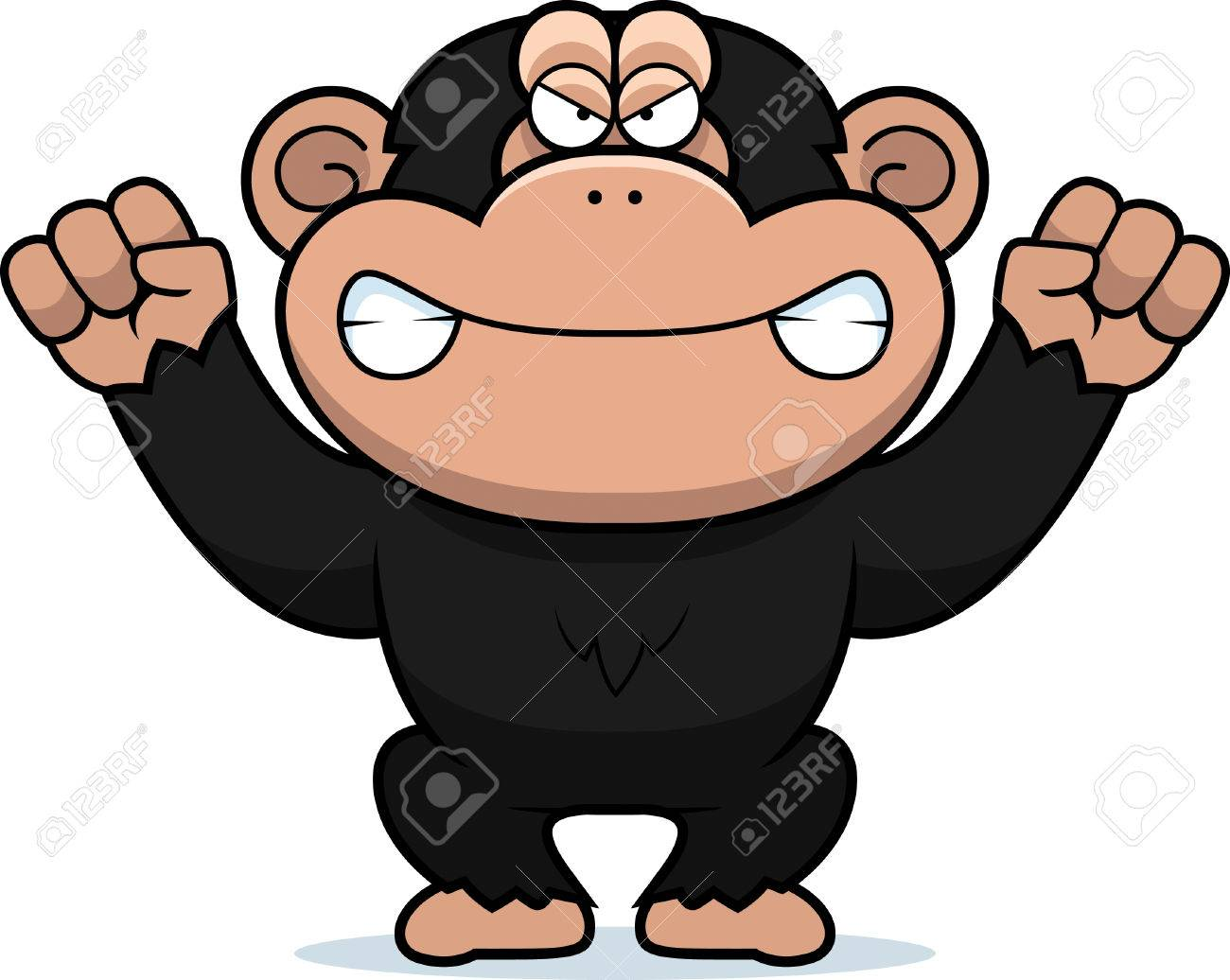 a cartoon illustration of an angry looking chimp royalty free rh 123rf com chimpanzee clipart black and white chimpanzee face clipart