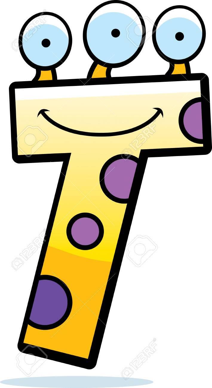 Una Ilustración De Dibujos Animados De Una Letra T Sonriente Y Feliz
