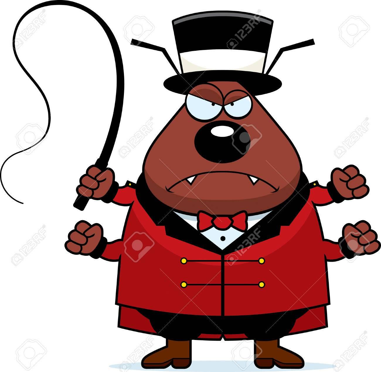 Una Ilustración De Dibujos Animados De Un Jefe De Pista De Circo De Pulgas  Con Una Expresión Enojada. Ilustraciones Vectoriales, Clip Art Vectorizado  Libre De Derechos. Image 42600530.