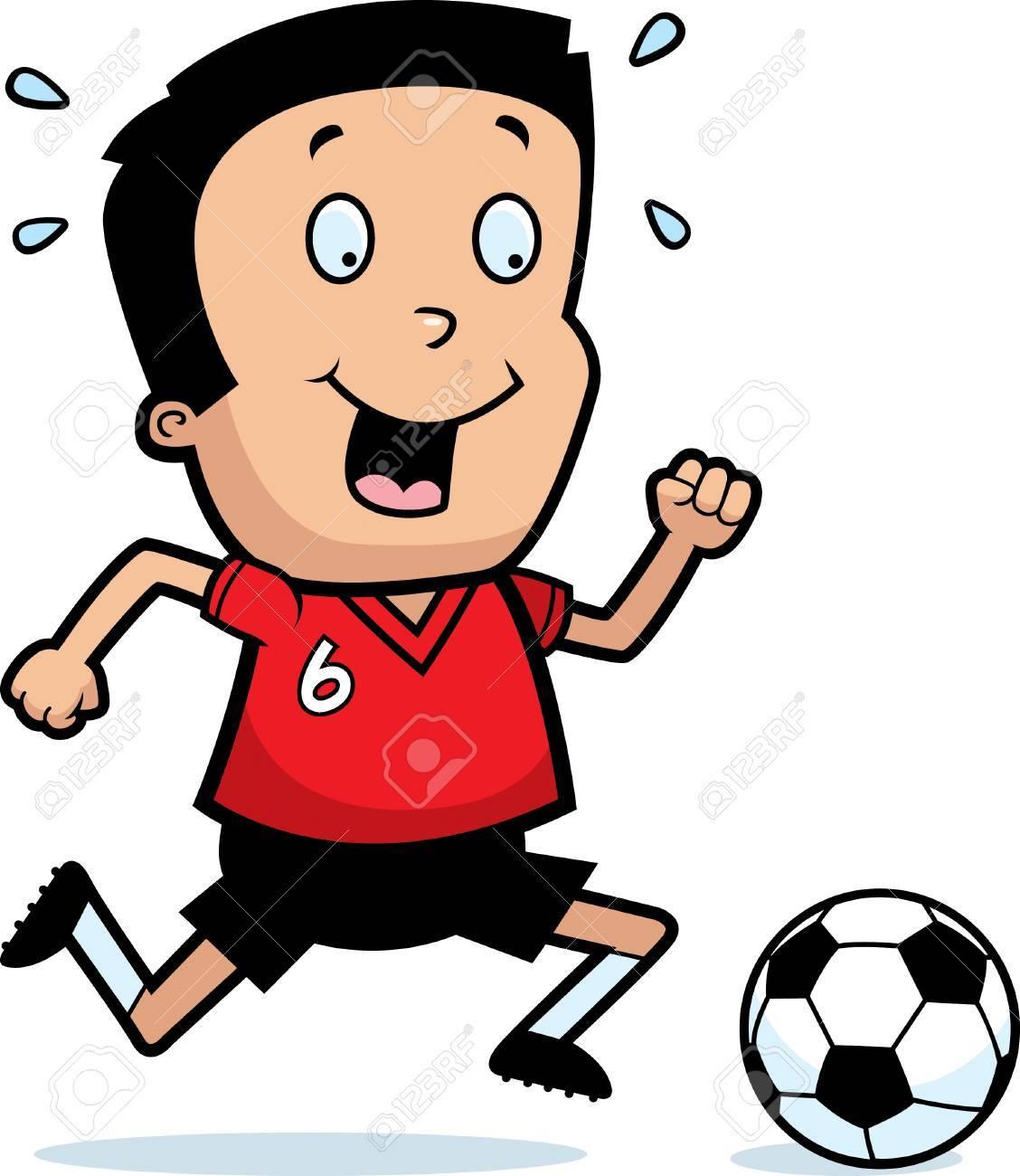 A Cartoon Illustration Of A Boy Playing Soccer