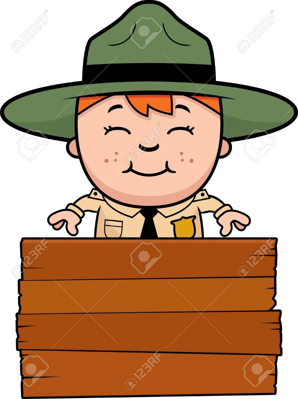 記号で少年の公園のレンジャーの漫画イラストのイラスト素材ベクタ