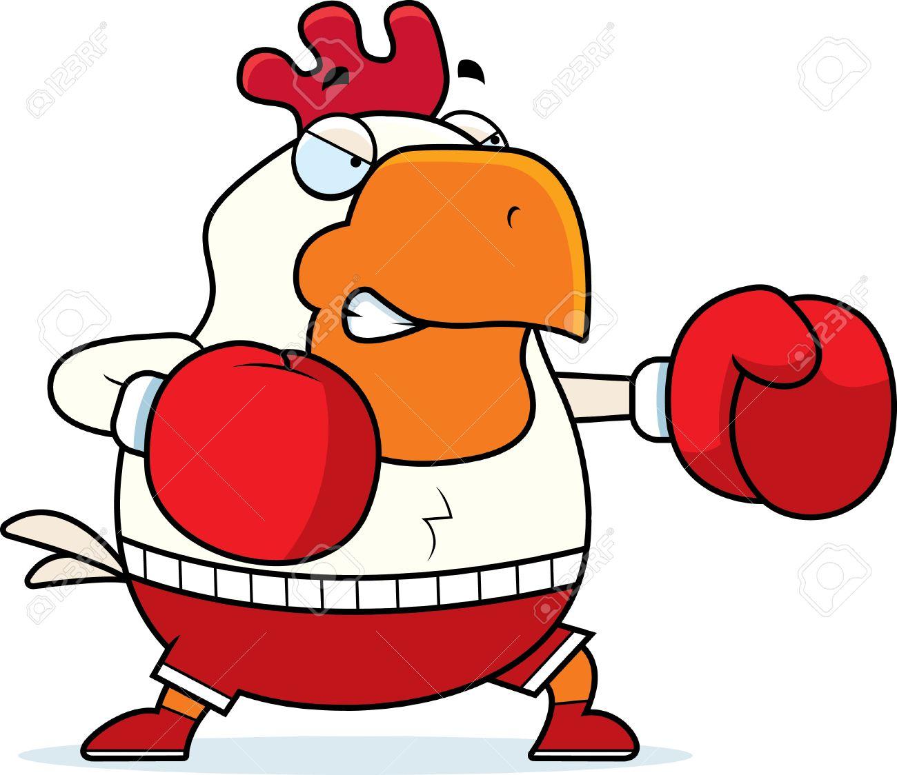 una ilustración de dibujos animados de un gallo de boxeo con guantes
