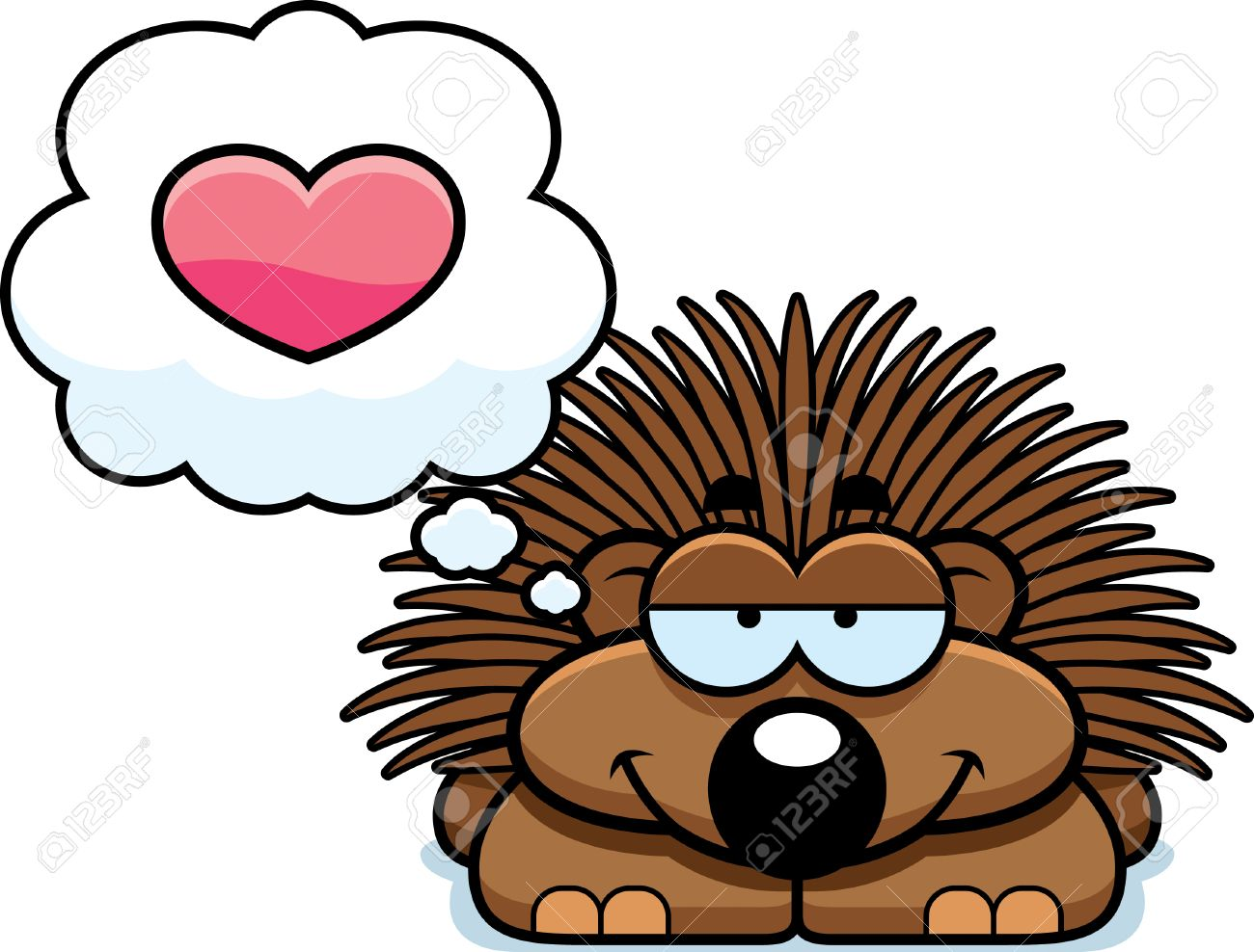 a cartoon illustration of a little porcupine with an in love rh 123rf com porcupine clipart black and white porcupine clip art free
