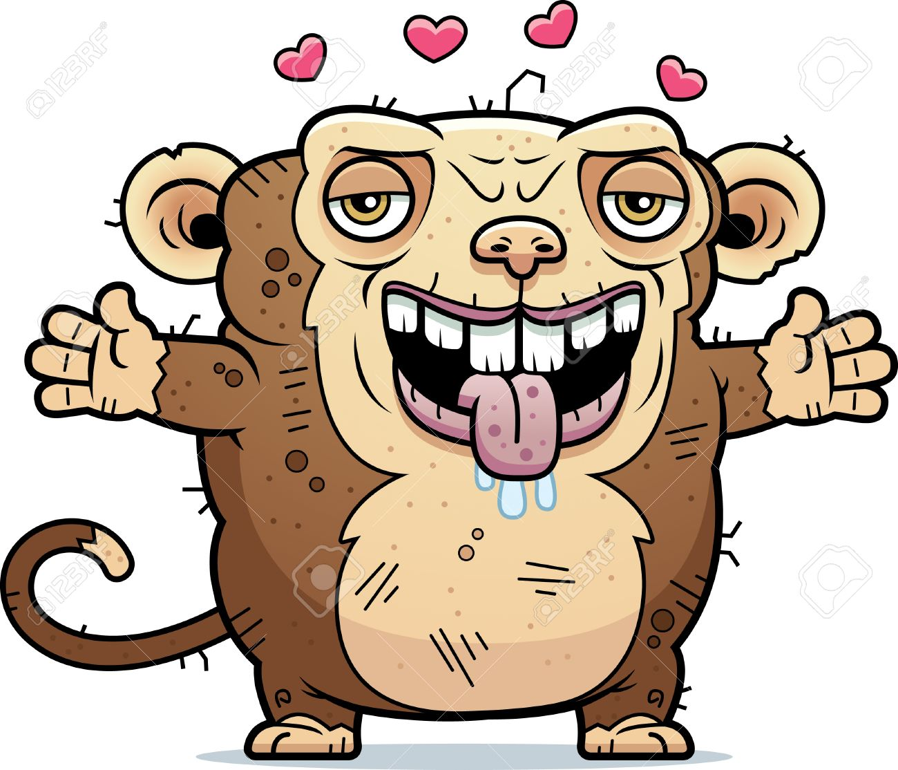 A Cartoon Illustration Of An Ugly Monkey Ready To Give A Hug Royalty Free Cliparts Vectors And Stock Illustration Image 42751330