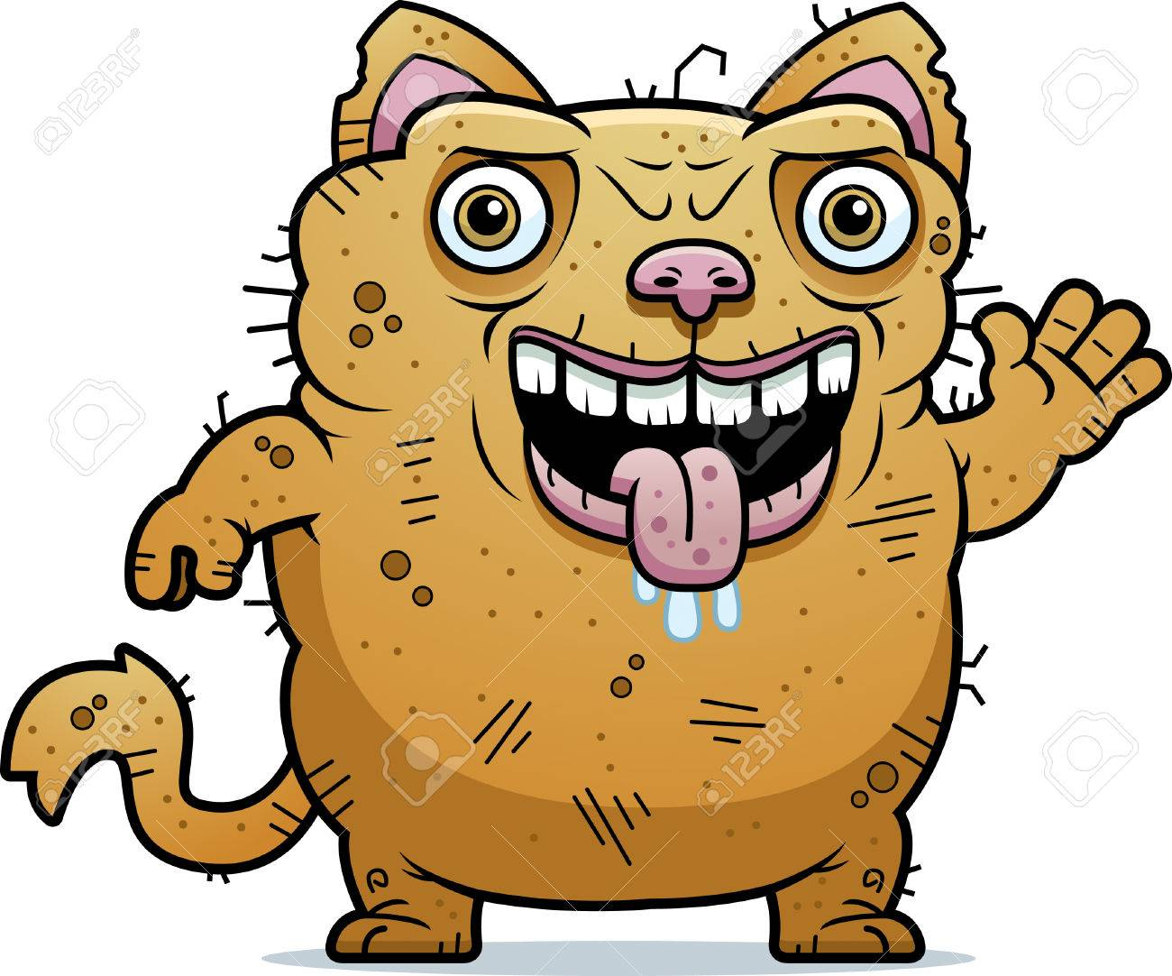 A Cartoon Illustration Of An Ugly Cat Waving Royalty Free Cliparts Vectors And Stock Illustration Image 42751449