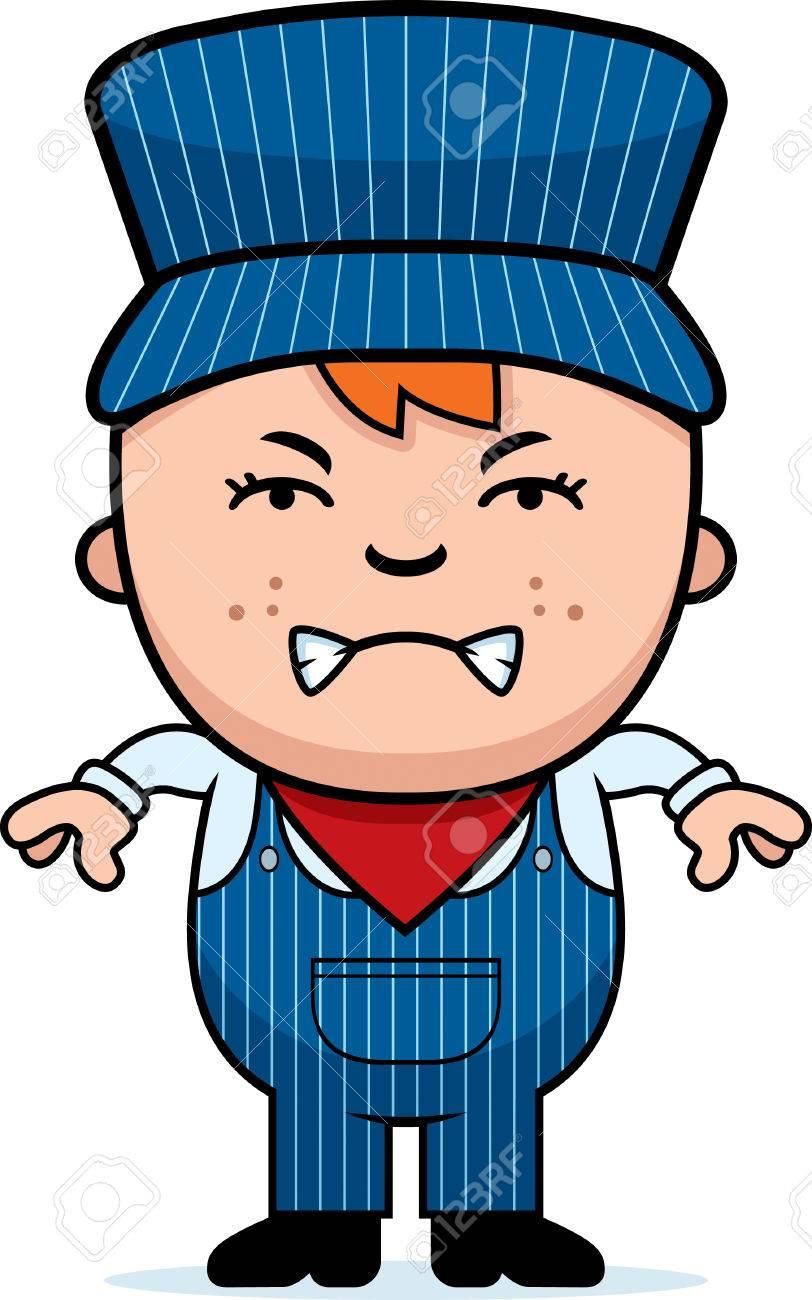 a cartoon illustration of a boy train conductor looking angry rh 123rf com