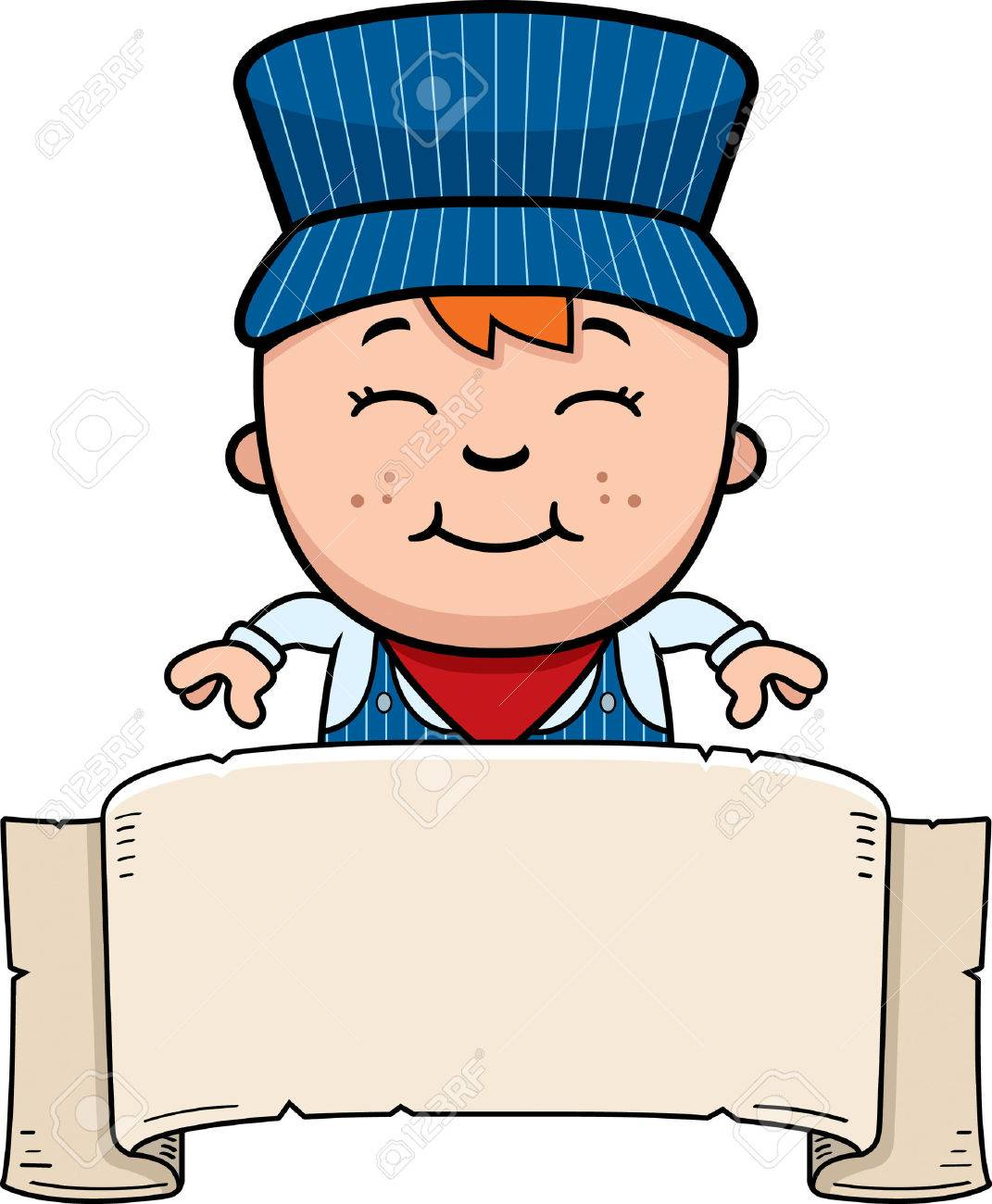 a cartoon illustration of a boy train conductor with a banner rh 123rf com Train Conductor Animated train conductor clipart