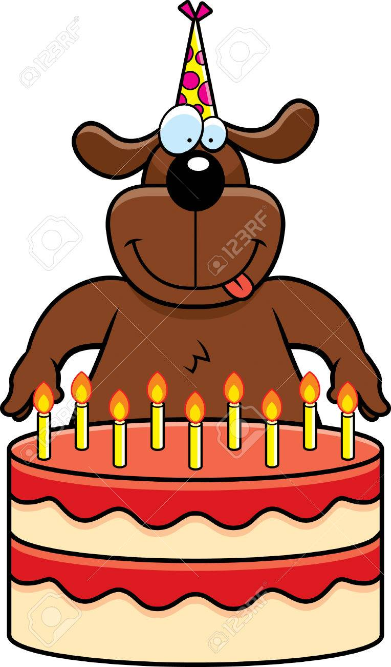 A Cartoon Illustration Of Dog With Birthday Cake Stock Vector