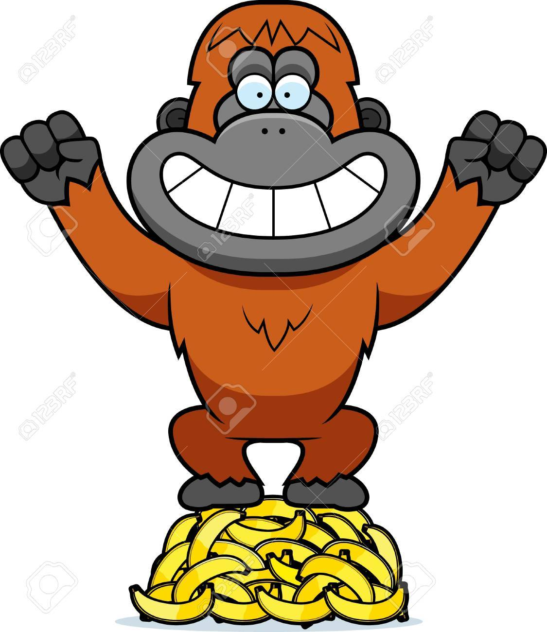 a cartoon illustration of an orangutan on a pile of bananas royalty rh 123rf com orangutan clipart free clipart orangutan hanging