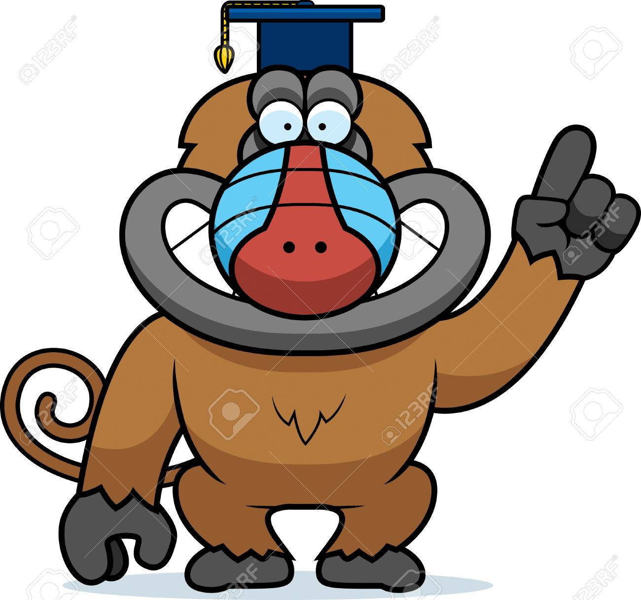 a cartoon illustration of a baboon in a professor cap royalty free rh 123rf com  baboon clipart