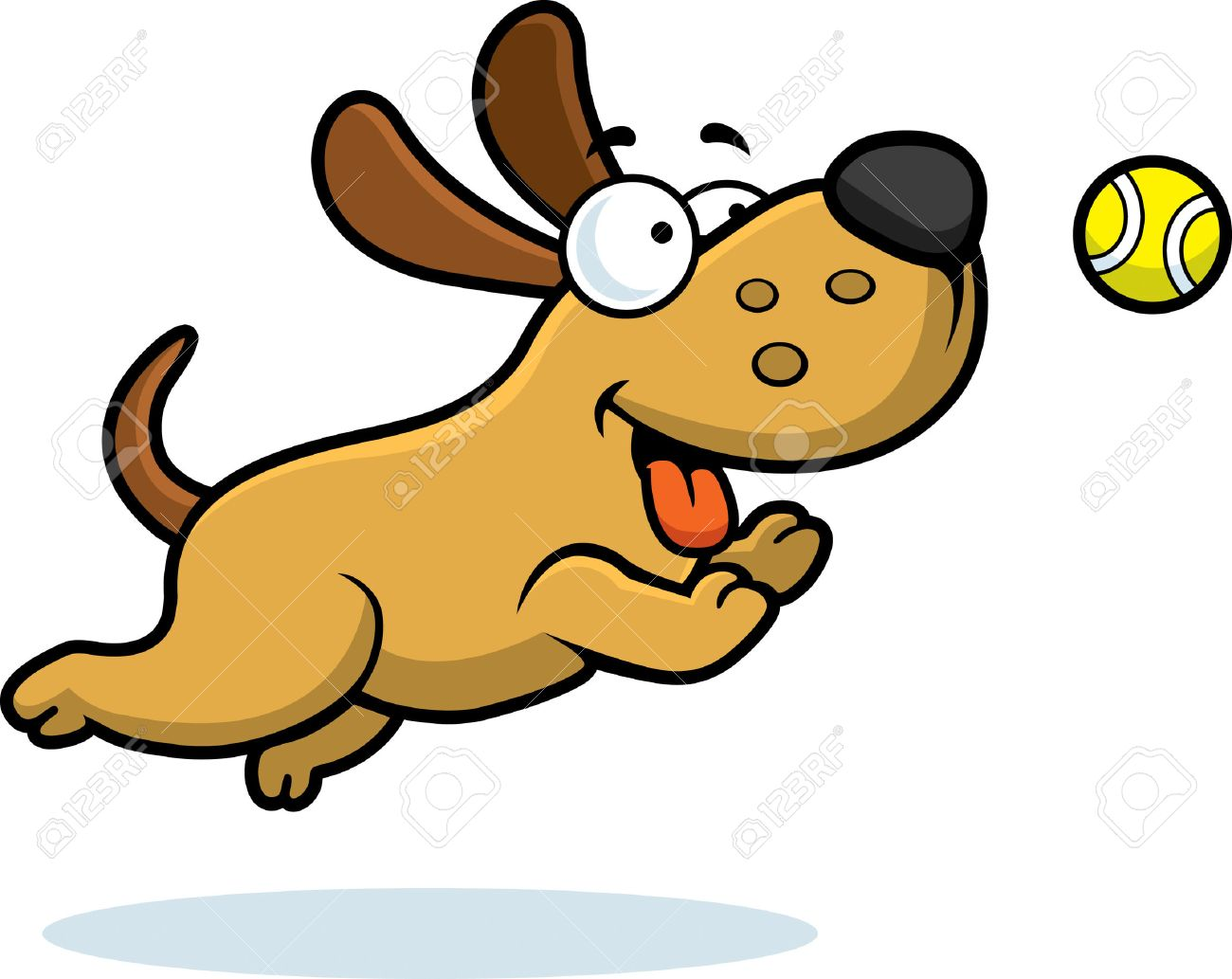 a cartoon illustration of a dog chasing a ball stock vector 42954912