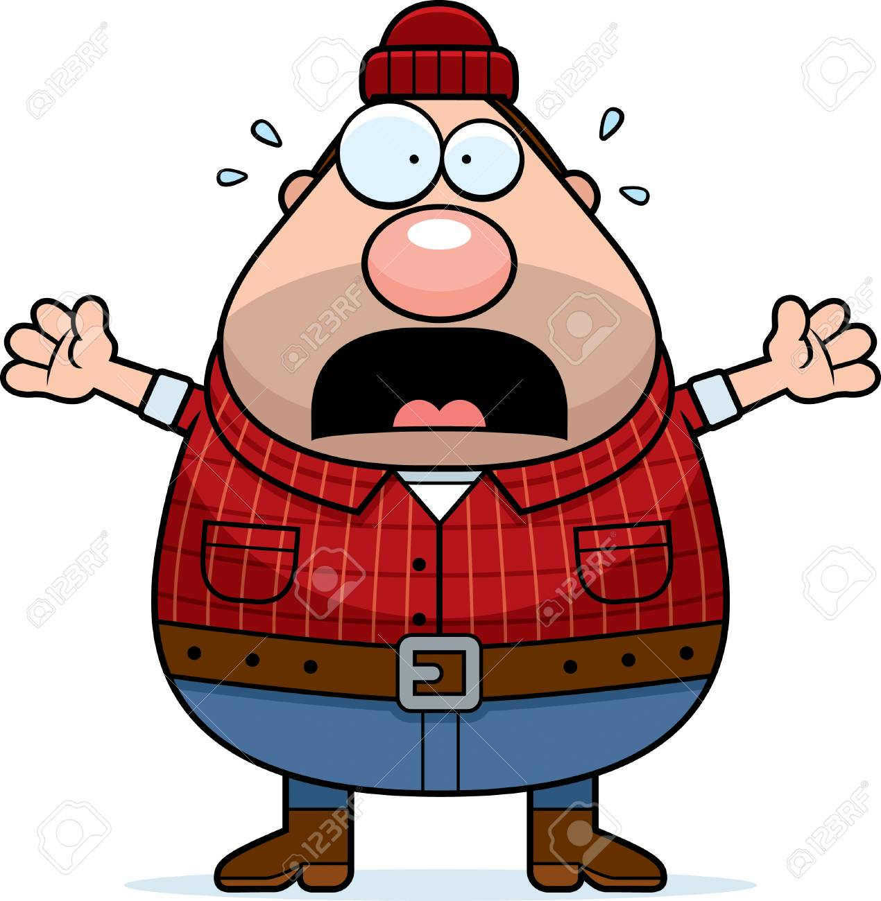 a cartoon illustration of a lumberjack looking scared royalty free rh 123rf com lumberjack axe clipart lumberjack clipart black and white