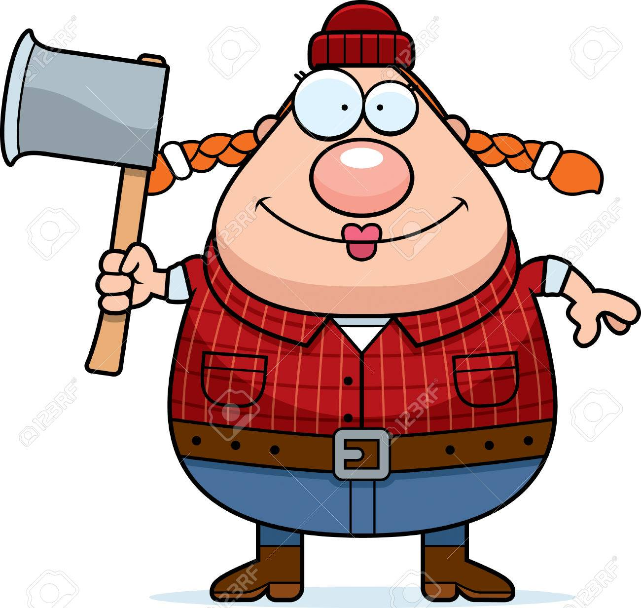 a cartoon illustration of a woman lumberjack with an axe royalty rh 123rf com lumberjack axe clipart lumberjack clipart free
