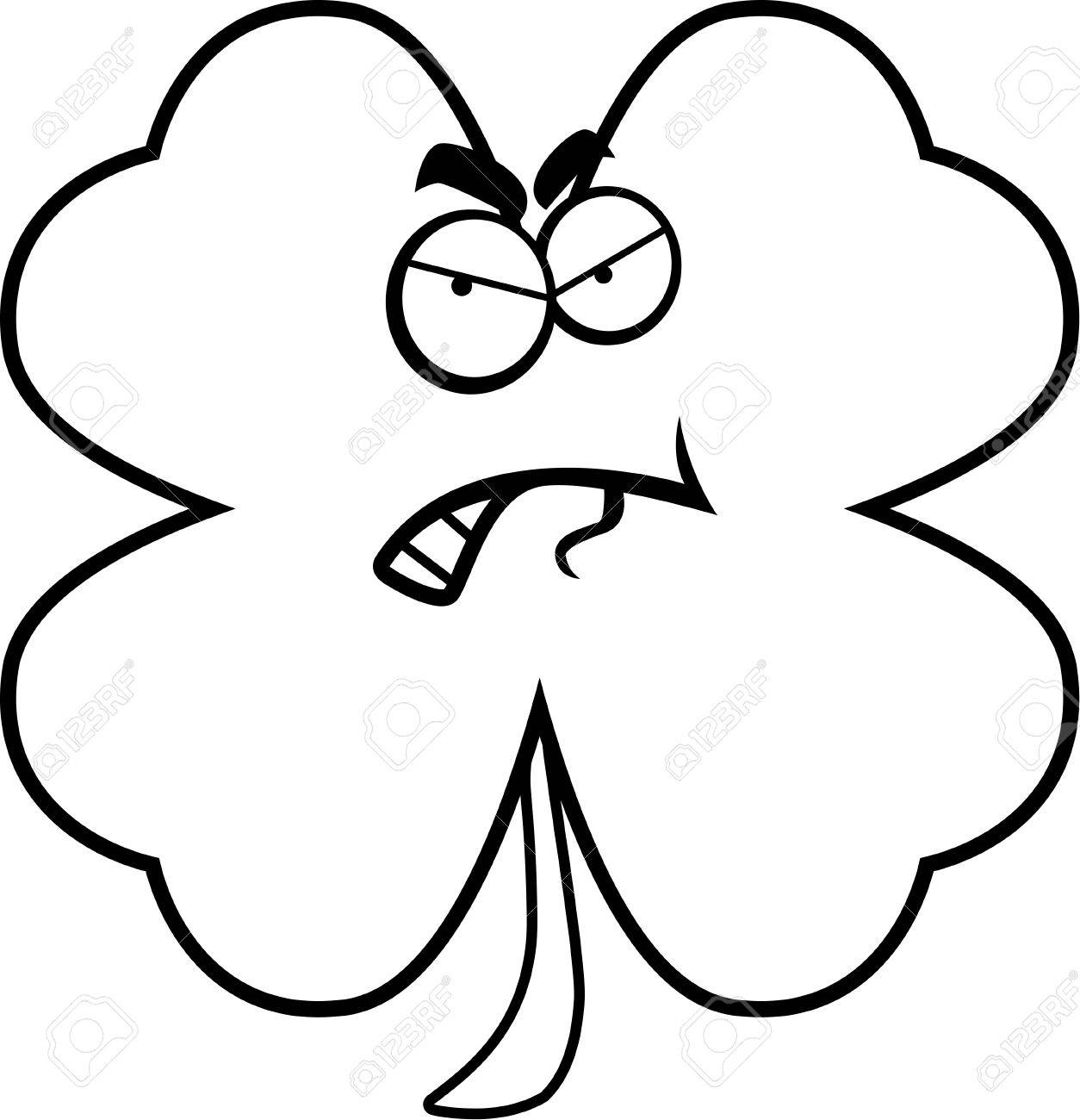 A cartoon four leaf clover looking angry. - 43332675