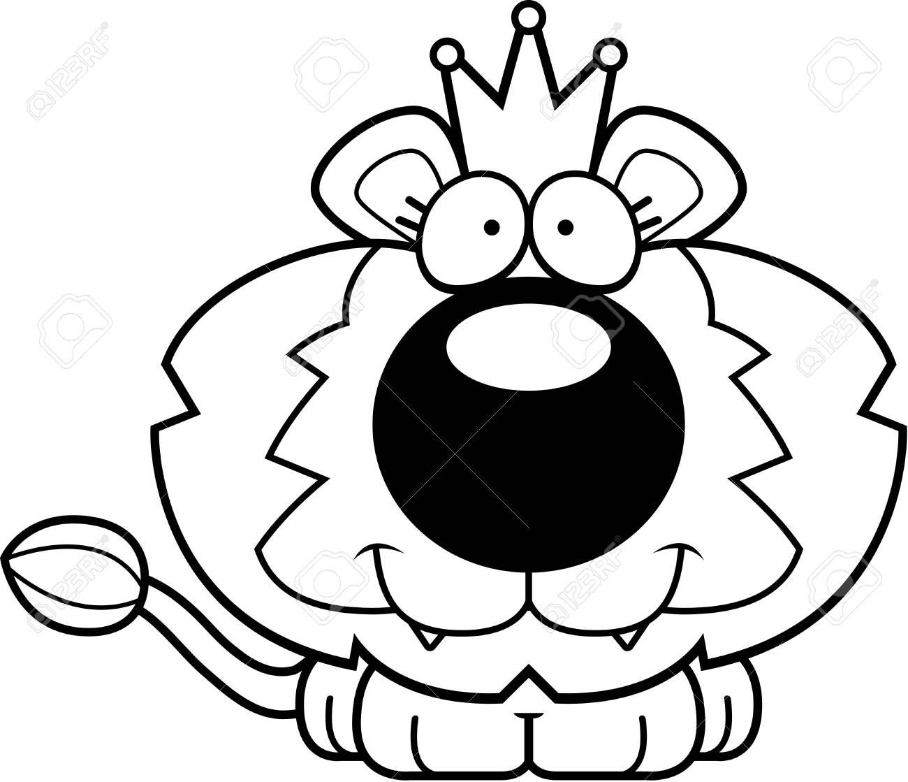 Una Ilustración De Dibujos Animados De Un Rey León Con Una Corona