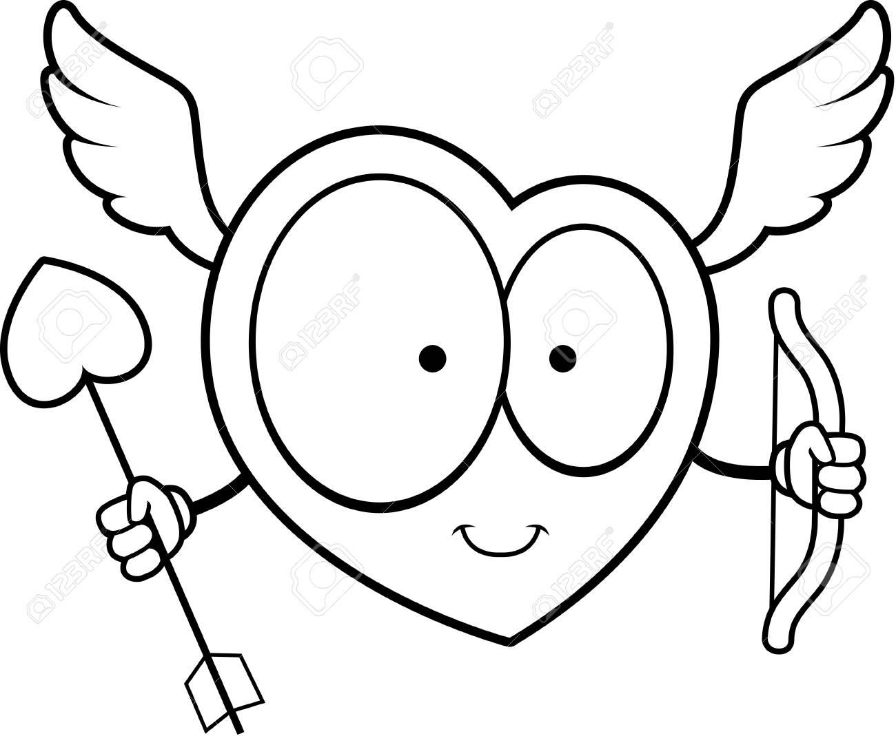 Un Cupidon De Coeur De Dessin Animé Heureux Avec Arc Et Flèche