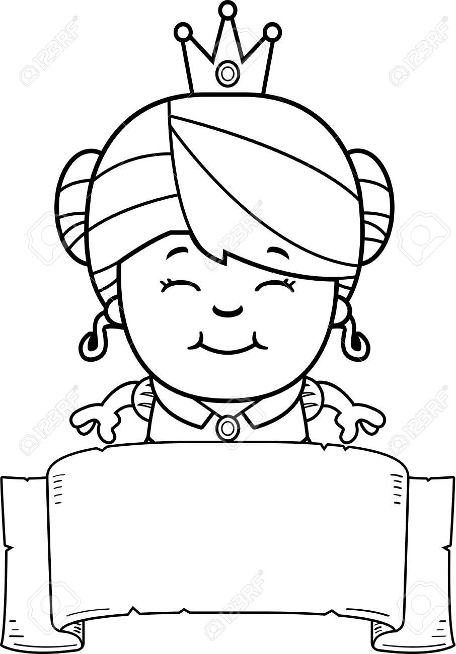 Une Illustration De Dessin Animé D Une Petite Princesse Avec Une Bannière