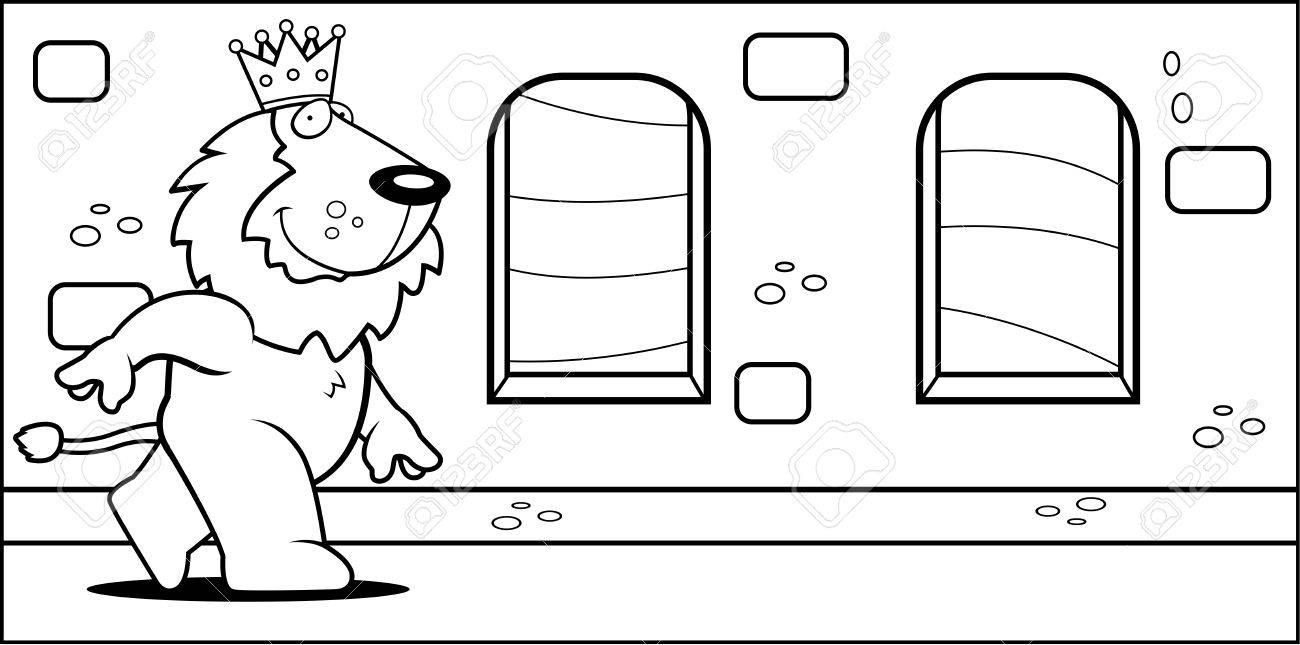 Un Feliz De Dibujos Animados Rey León Caminando En Un Castillo ...